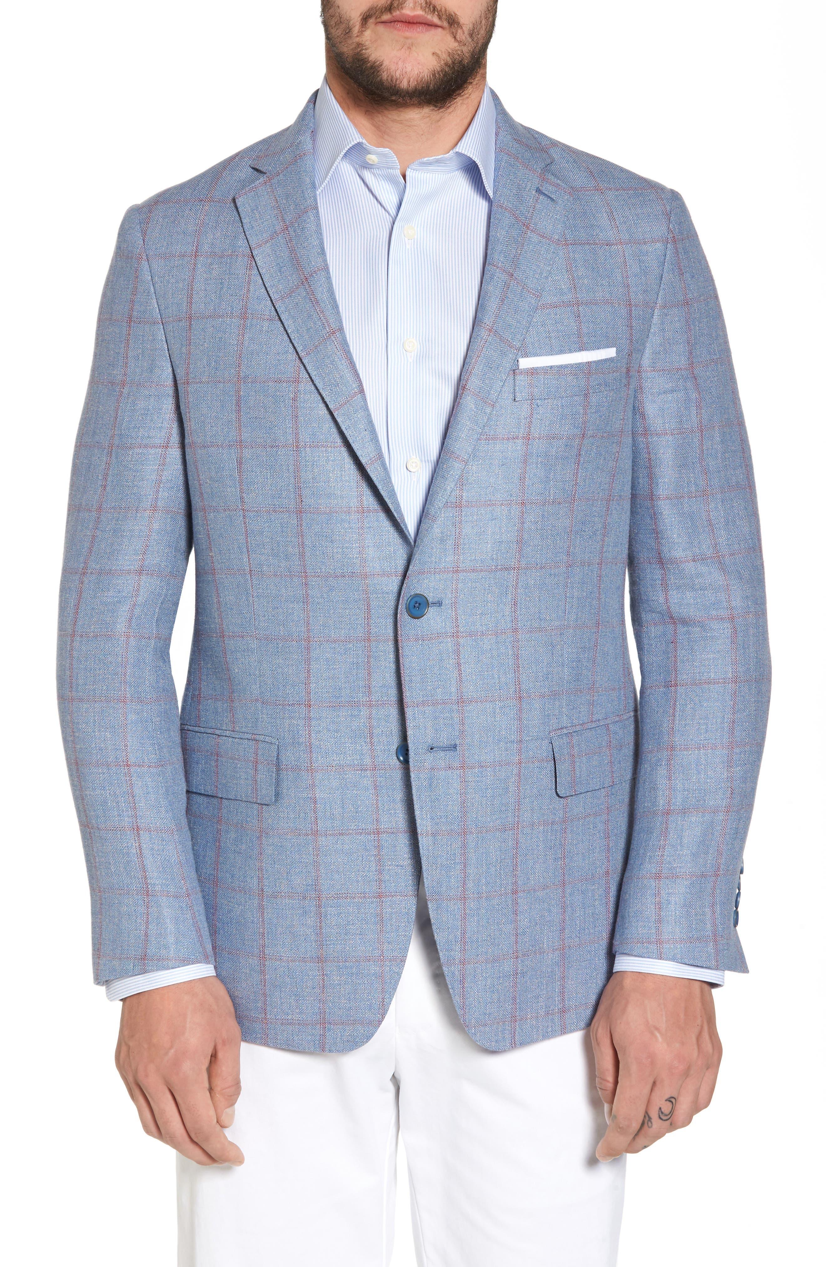 Classic Fit Check Sport Coat,                         Main,                         color, Medium Blue