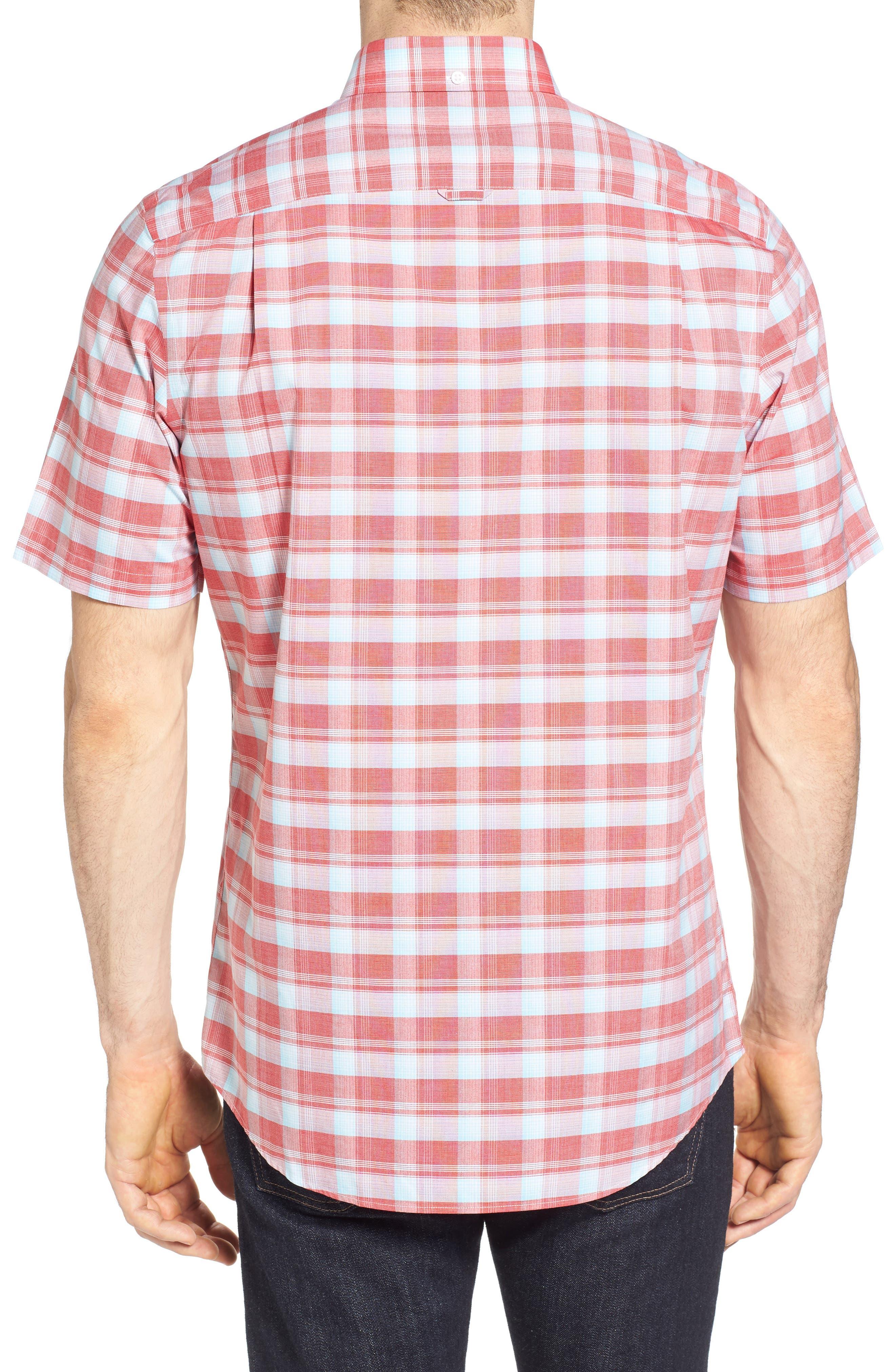 Regular Fit Plaid Sport Shirt,                             Alternate thumbnail 3, color,                             Red Pompeii Blue Check
