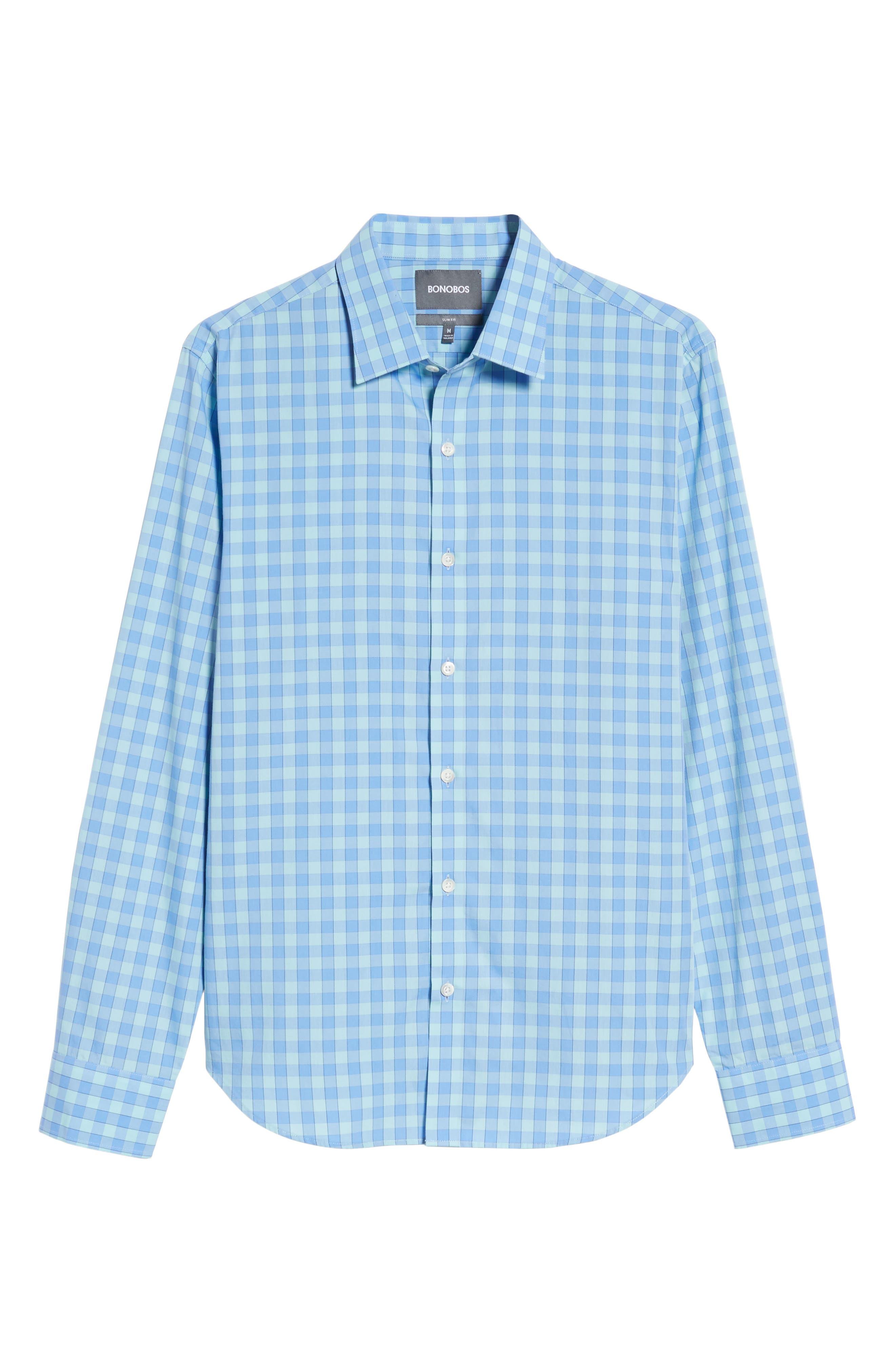 Unbutton Down 2.0 Slim Fit Gingham Sport Shirt,                             Alternate thumbnail 6, color,                             Sail Boat Gingham/ Island