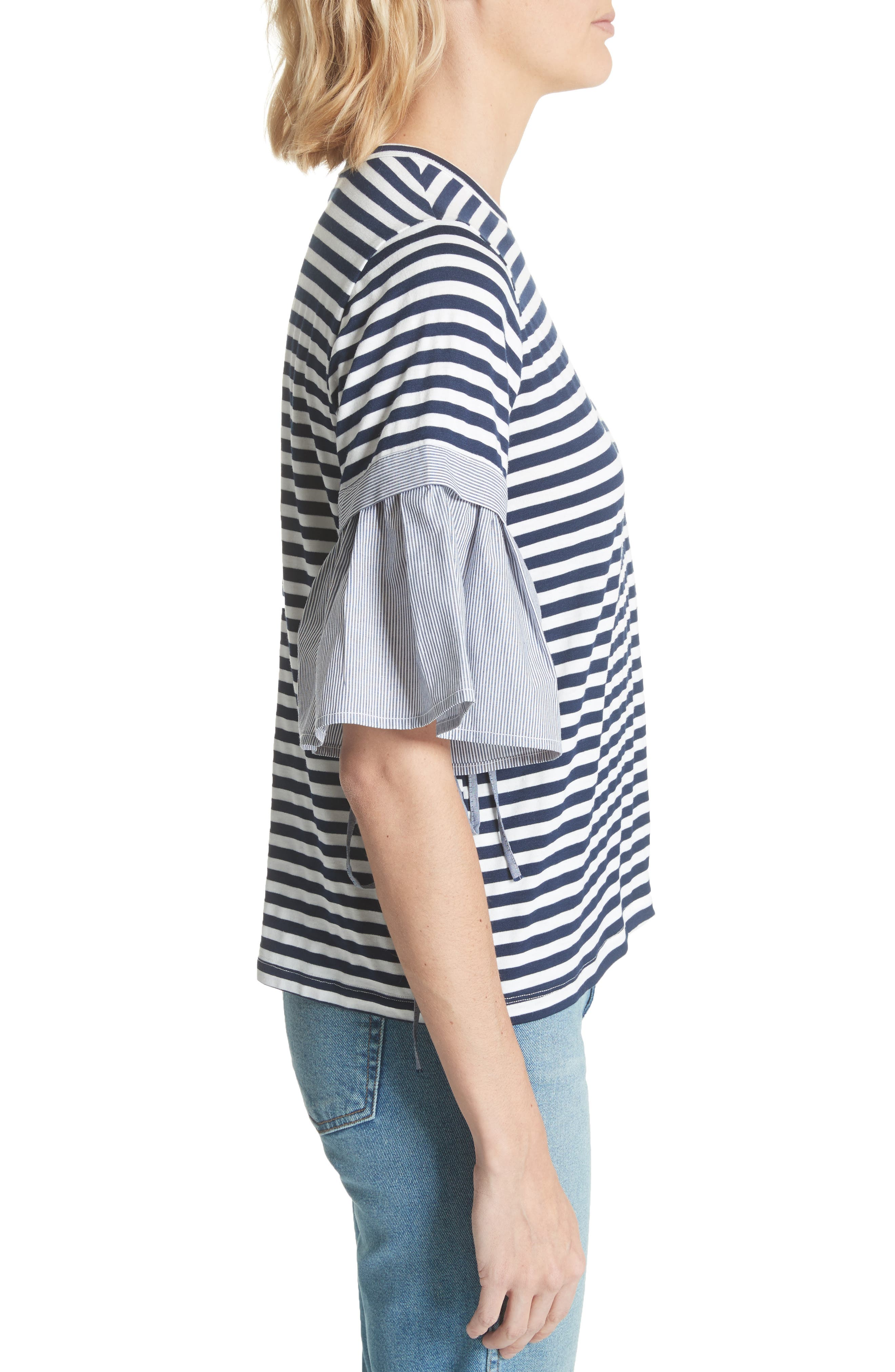 Ruffle Sleeve Stripe Tee,                             Alternate thumbnail 3, color,                             Navy