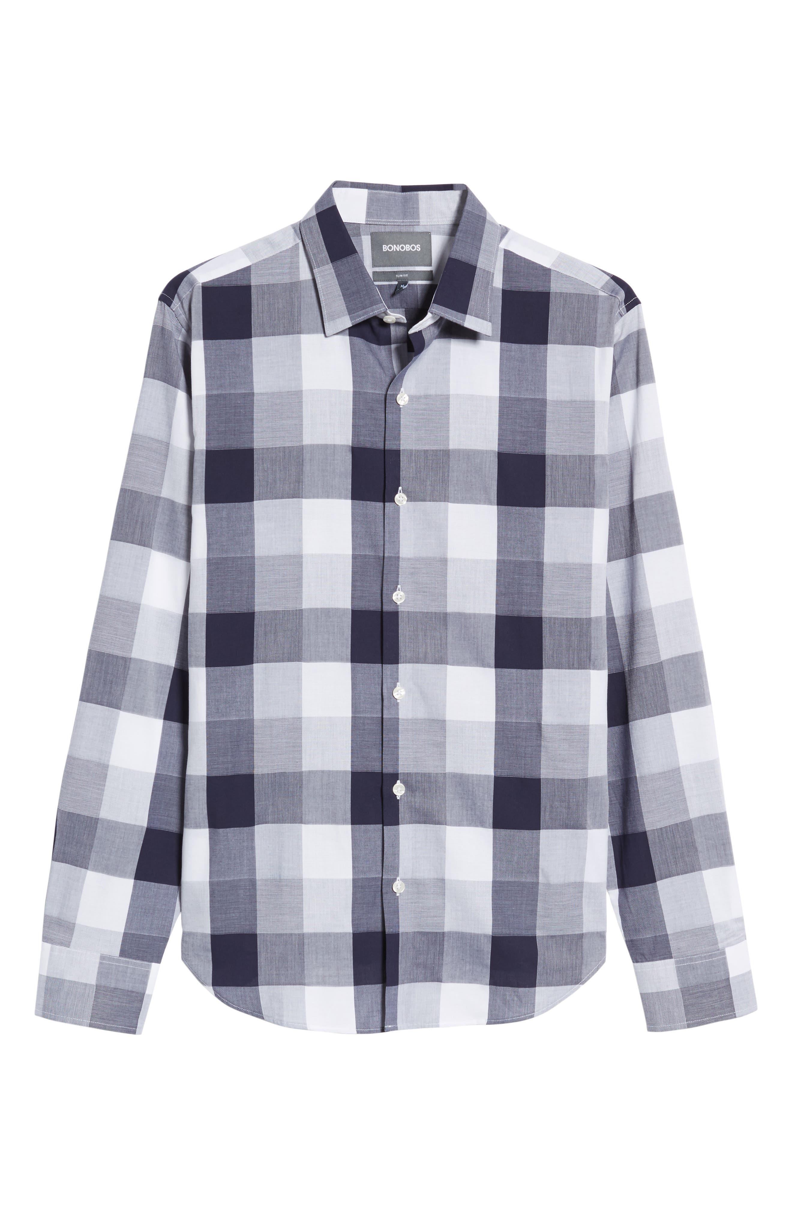 Unbutton Down 2.0 Slim Fit Buffalo Check Sport Shirt,                             Alternate thumbnail 6, color,                             Thomas Check - Maritime Blue