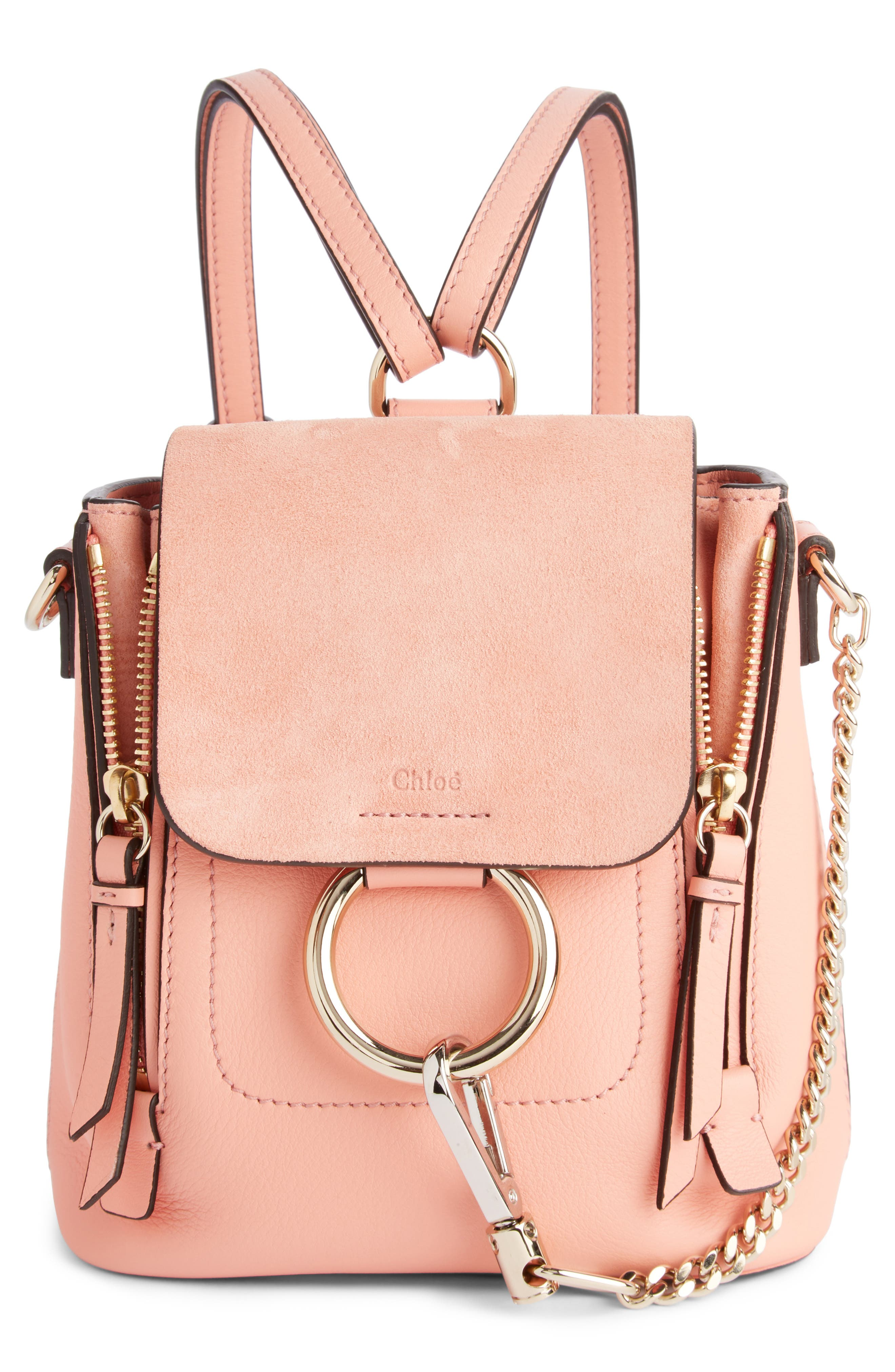 Main Image - Chloé Mini Faye Leather & Suede Backpack