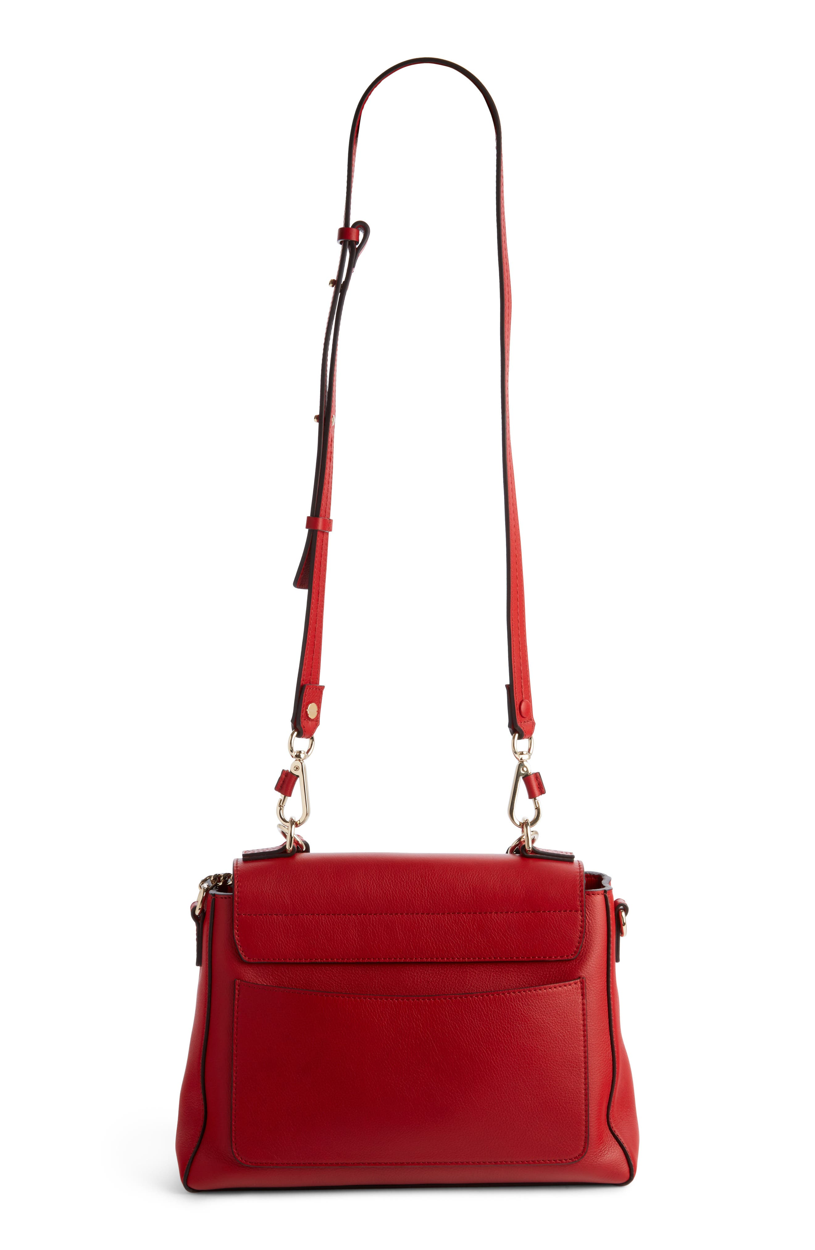 Small Faye Day Leather Shoulder Bag,                             Alternate thumbnail 4, color,                             Dahlia Red