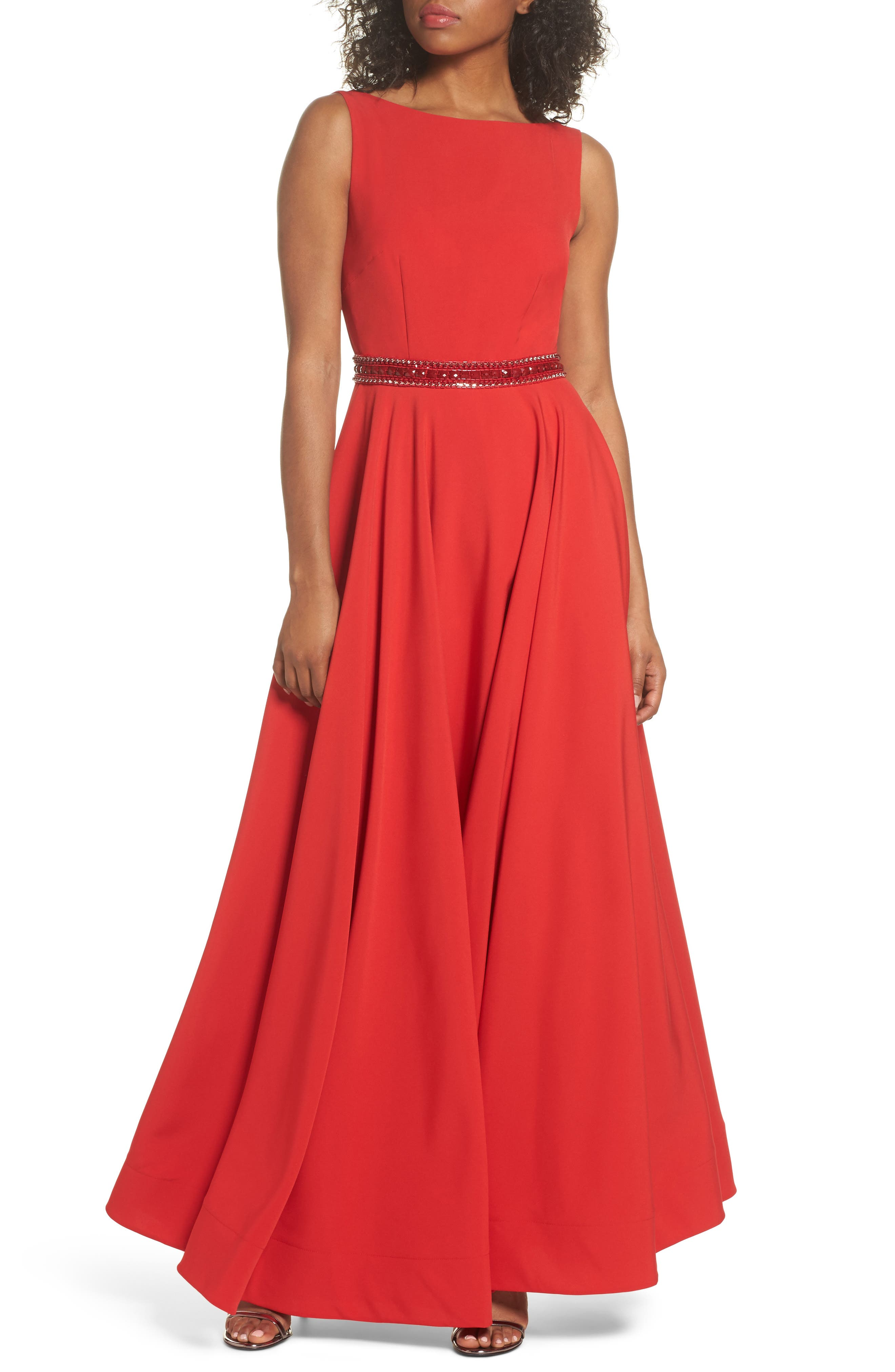 Beaded Waist Gown,                         Main,                         color, Red
