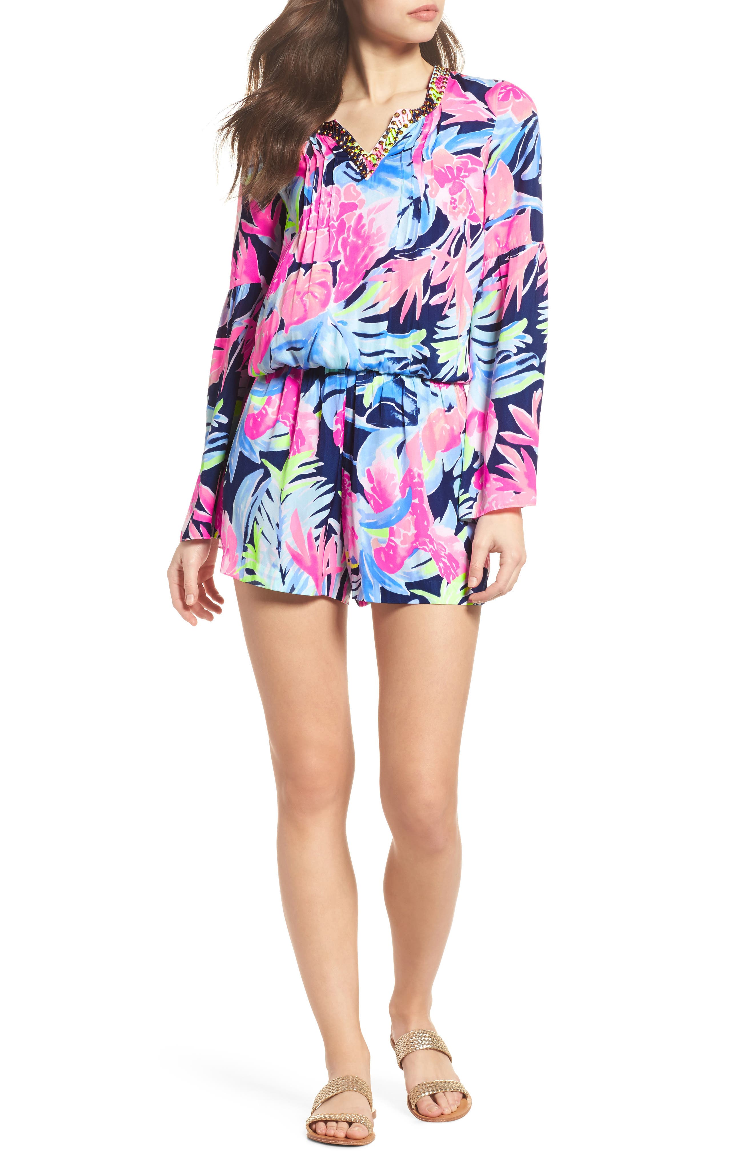 Ariele Floral Romper,                         Main,                         color, High Tide Tropicolada