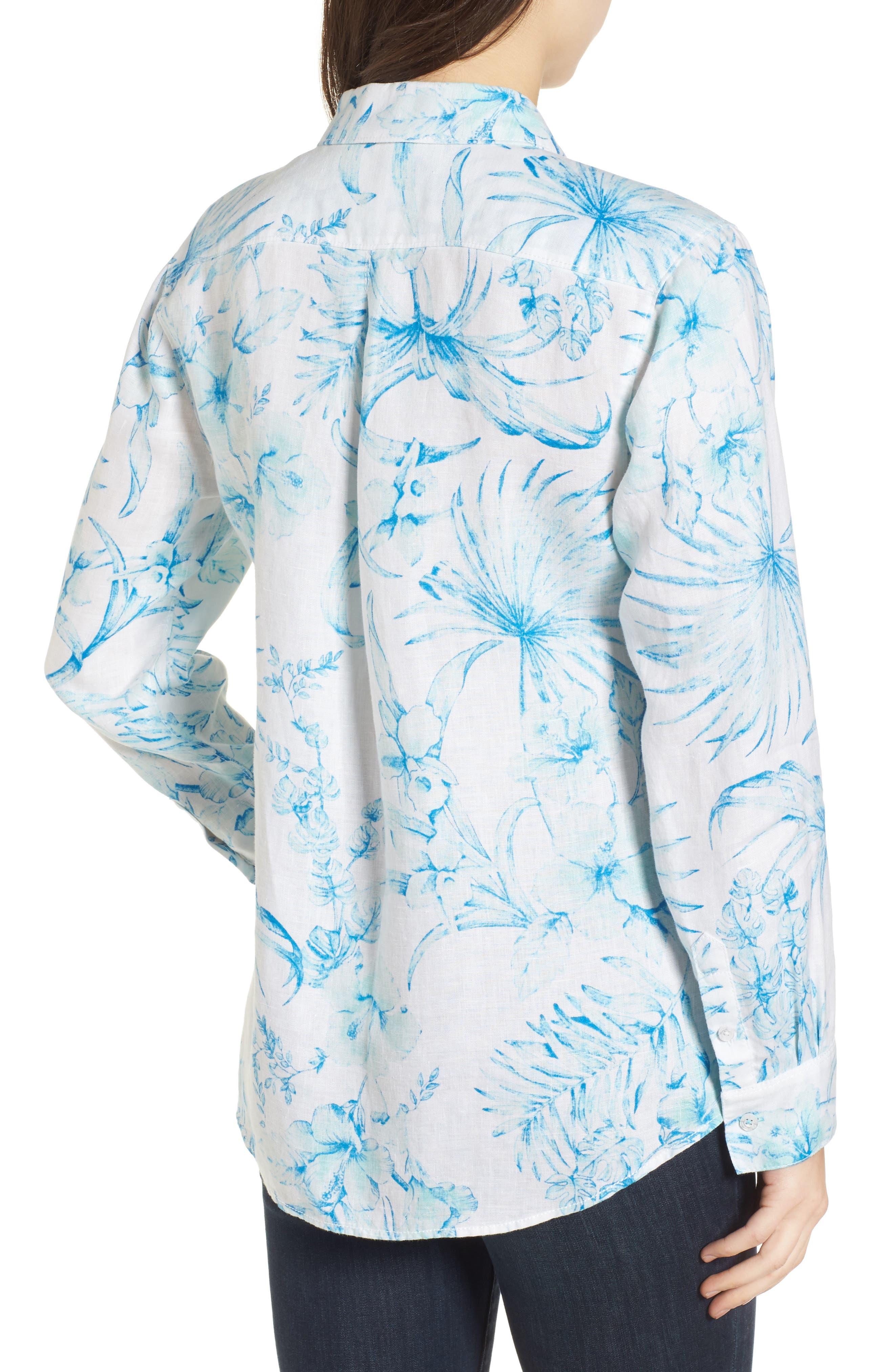 Tulum Tropical Linen Shirt,                             Alternate thumbnail 2, color,                             Blue Radiance