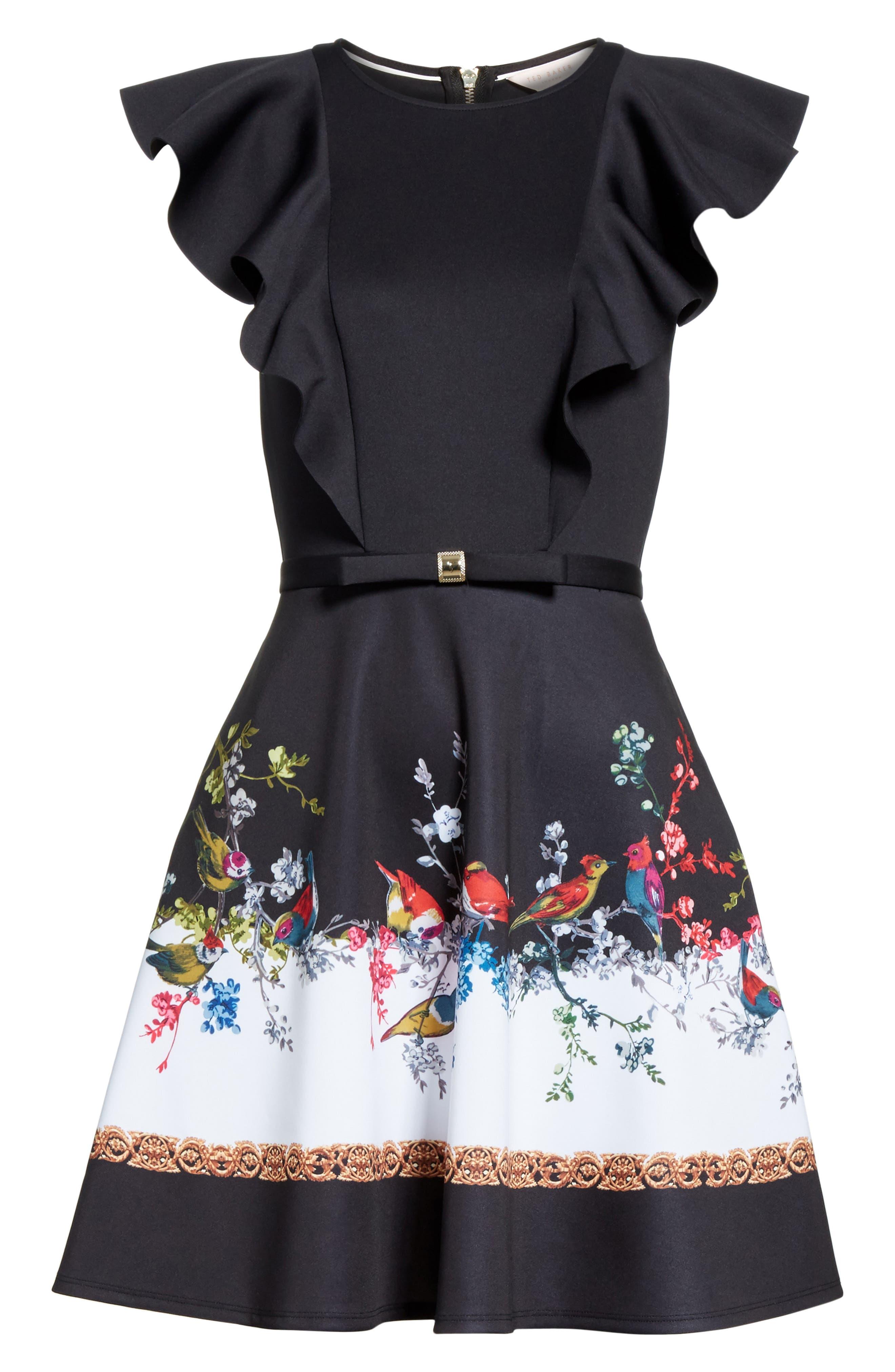 Opulent Fauna Ruffled Skater Dress,                             Alternate thumbnail 6, color,                             Black