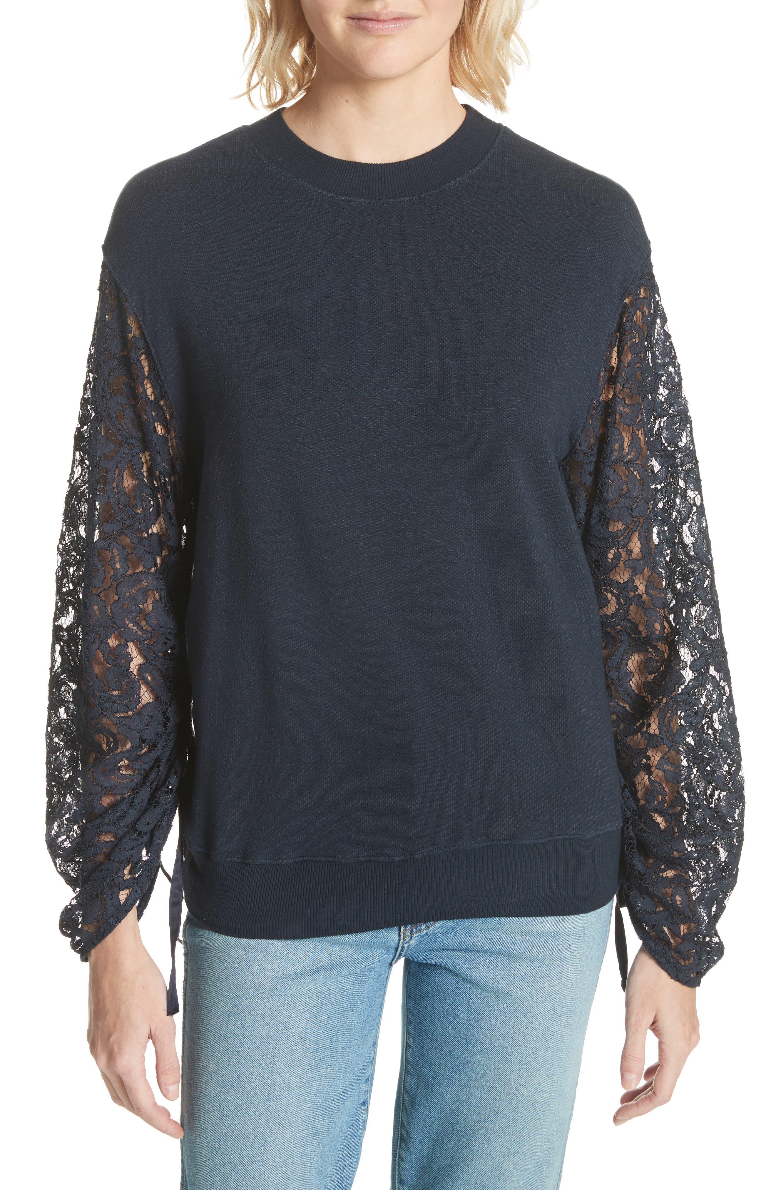 Lace Sleeve Sweatshirt,                         Main,                         color, Navy