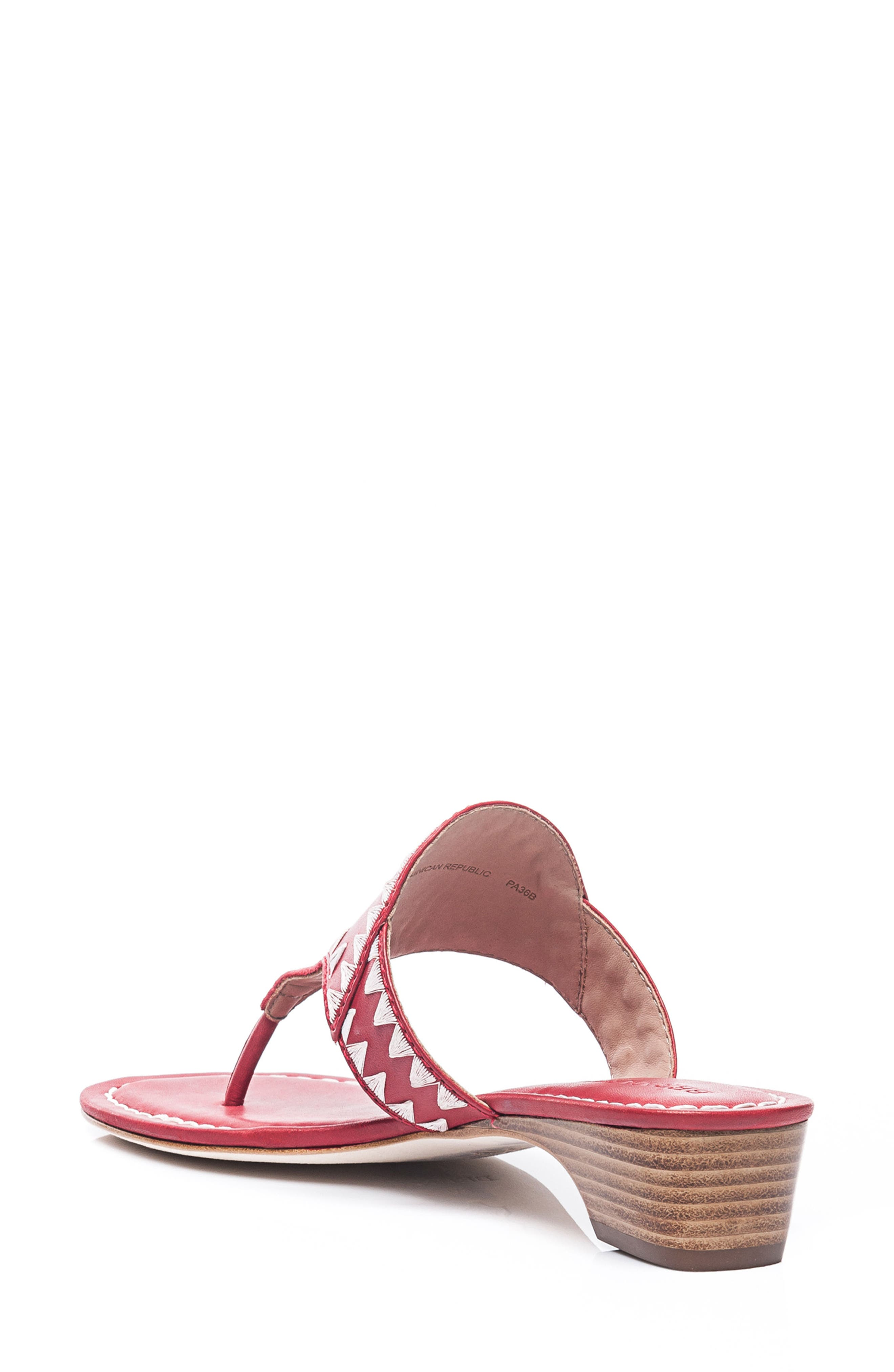 Bernardo Gabi Embroidered Sandal,                             Alternate thumbnail 2, color,                             Red Leather