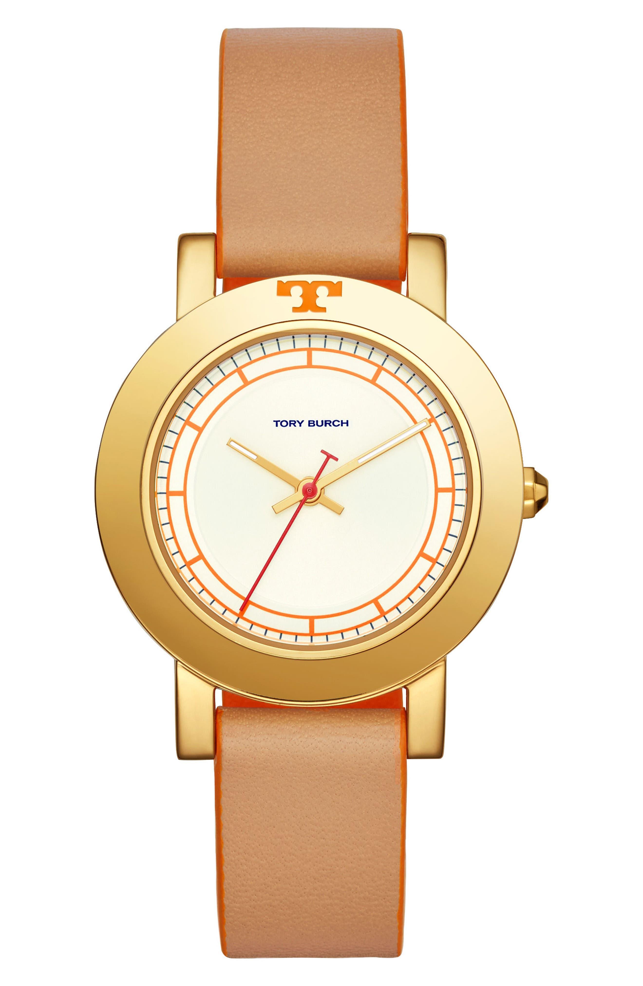 Tory Burch Ellsworth Leather Strap Watch, 36mm