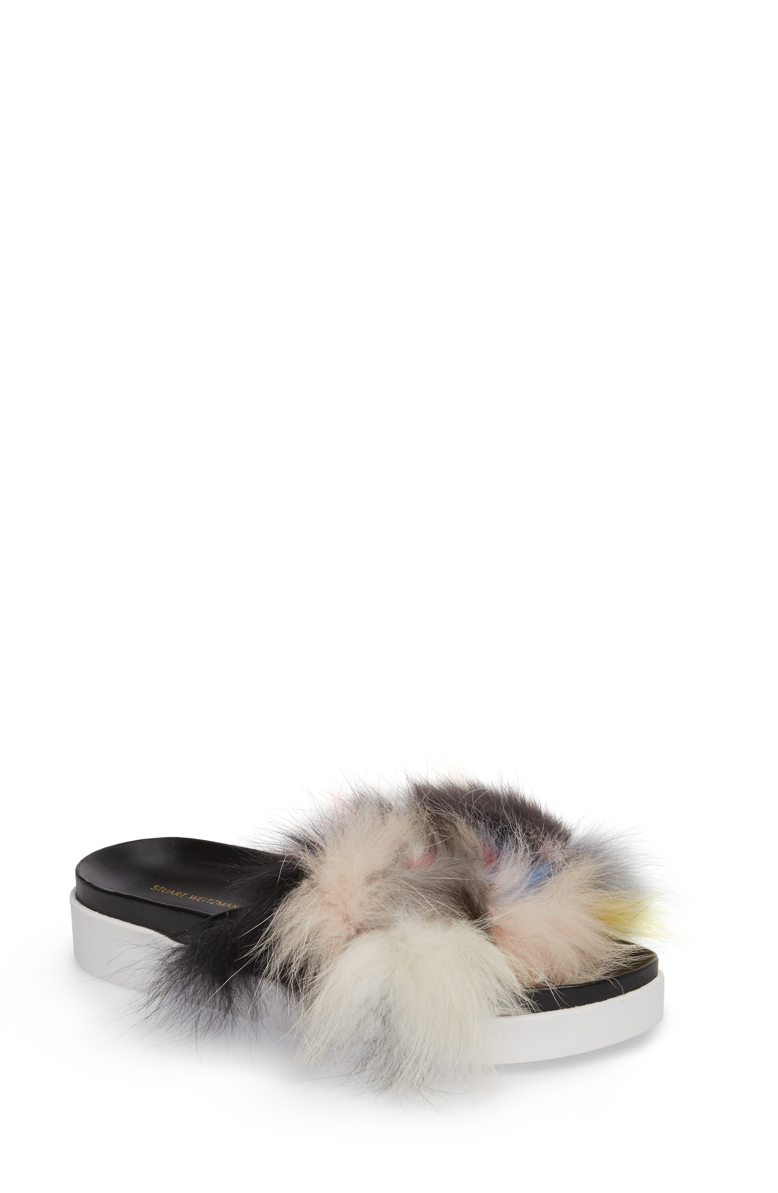 Sublime Genuine Fox Fur Slide Sandal,                             Main thumbnail 1, color,                             Carnival Furmania