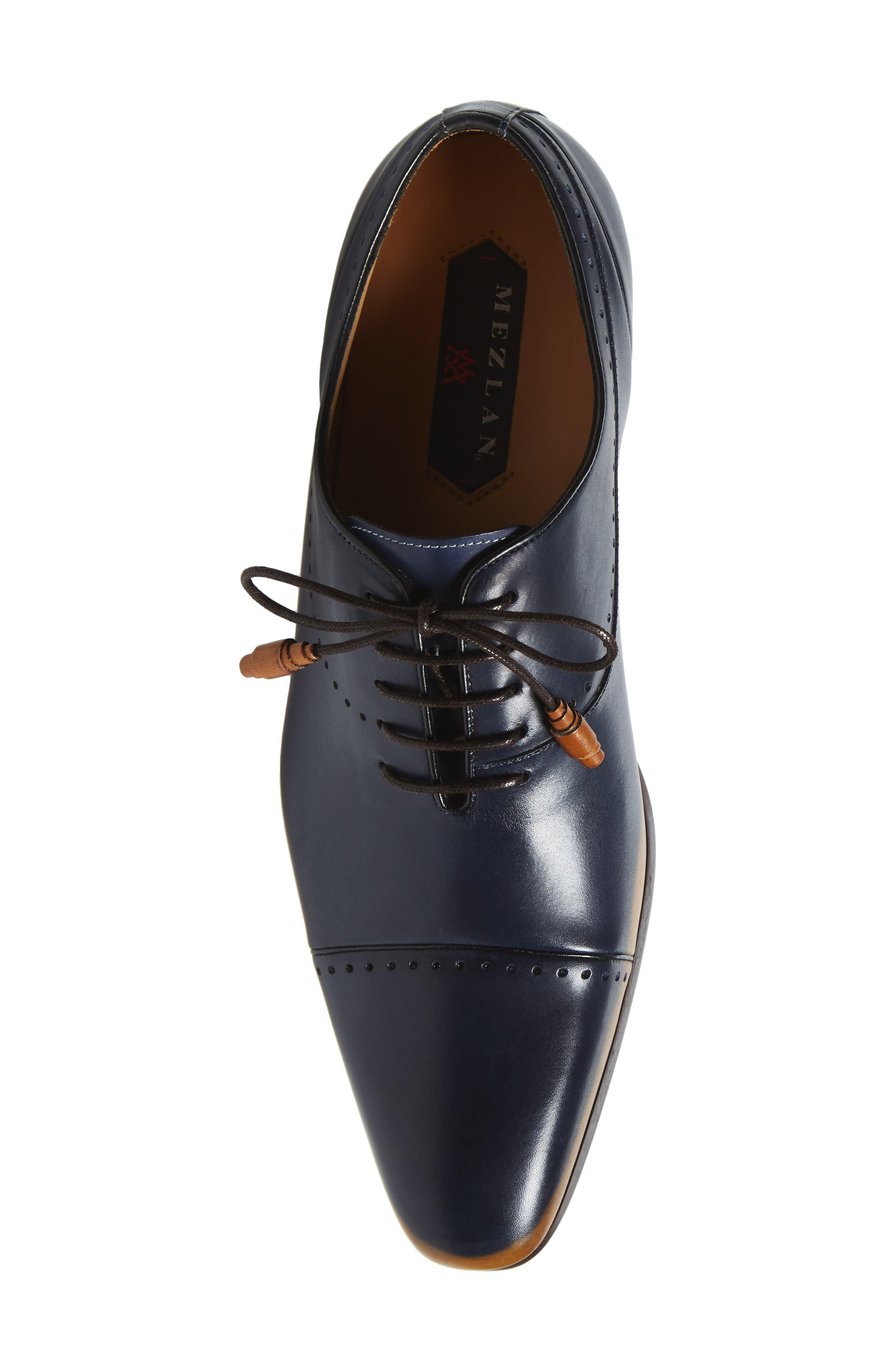Icaro Cap Toe Oxford,                             Alternate thumbnail 5, color,                             Tan/ Blue Leather