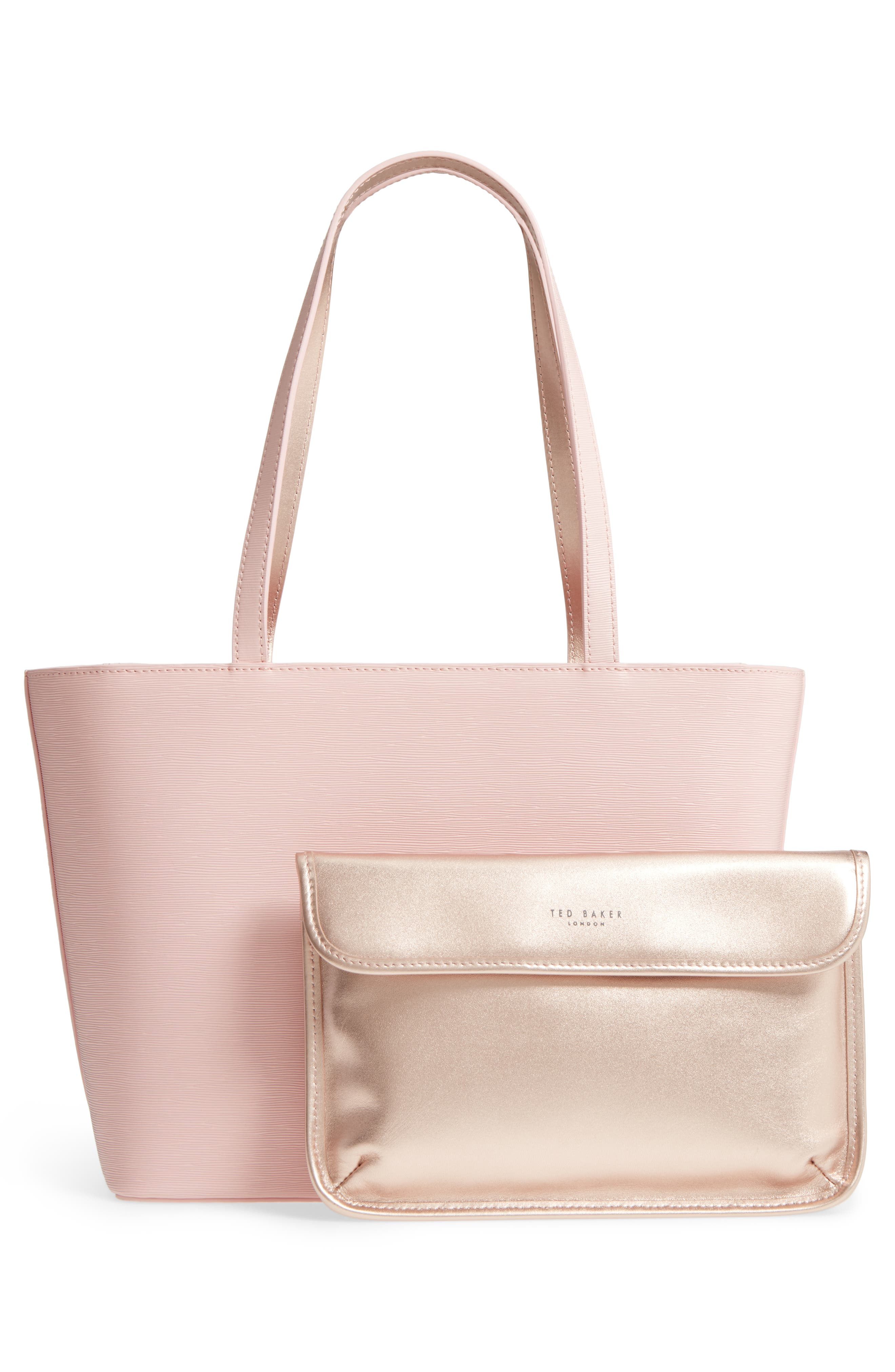 Small Bowmisa Leather Shopper & Pouch,                             Alternate thumbnail 3, color,                             Light Pink