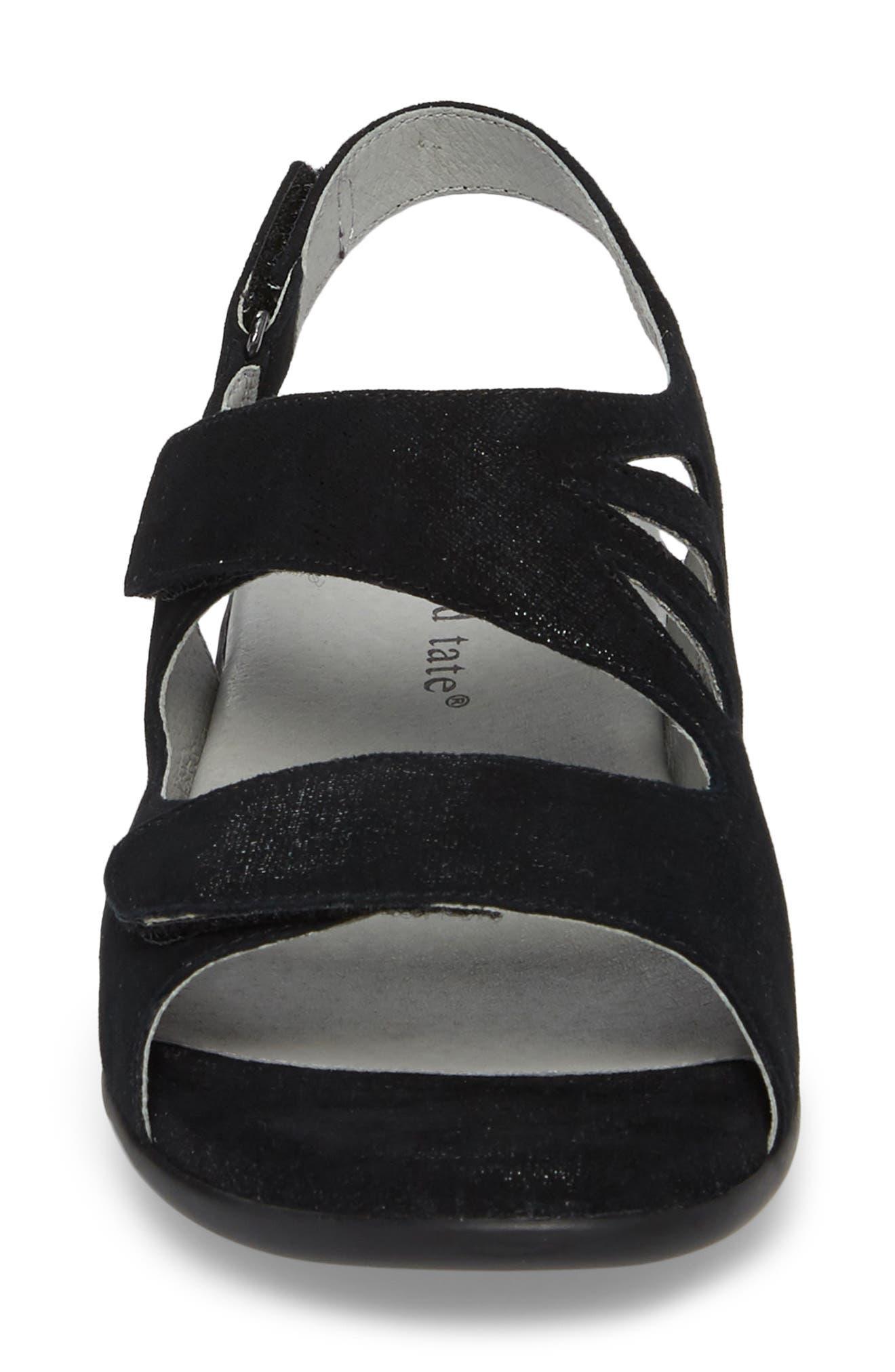 Lilly Slingback Sandal,                             Alternate thumbnail 4, color,                             Black Leather