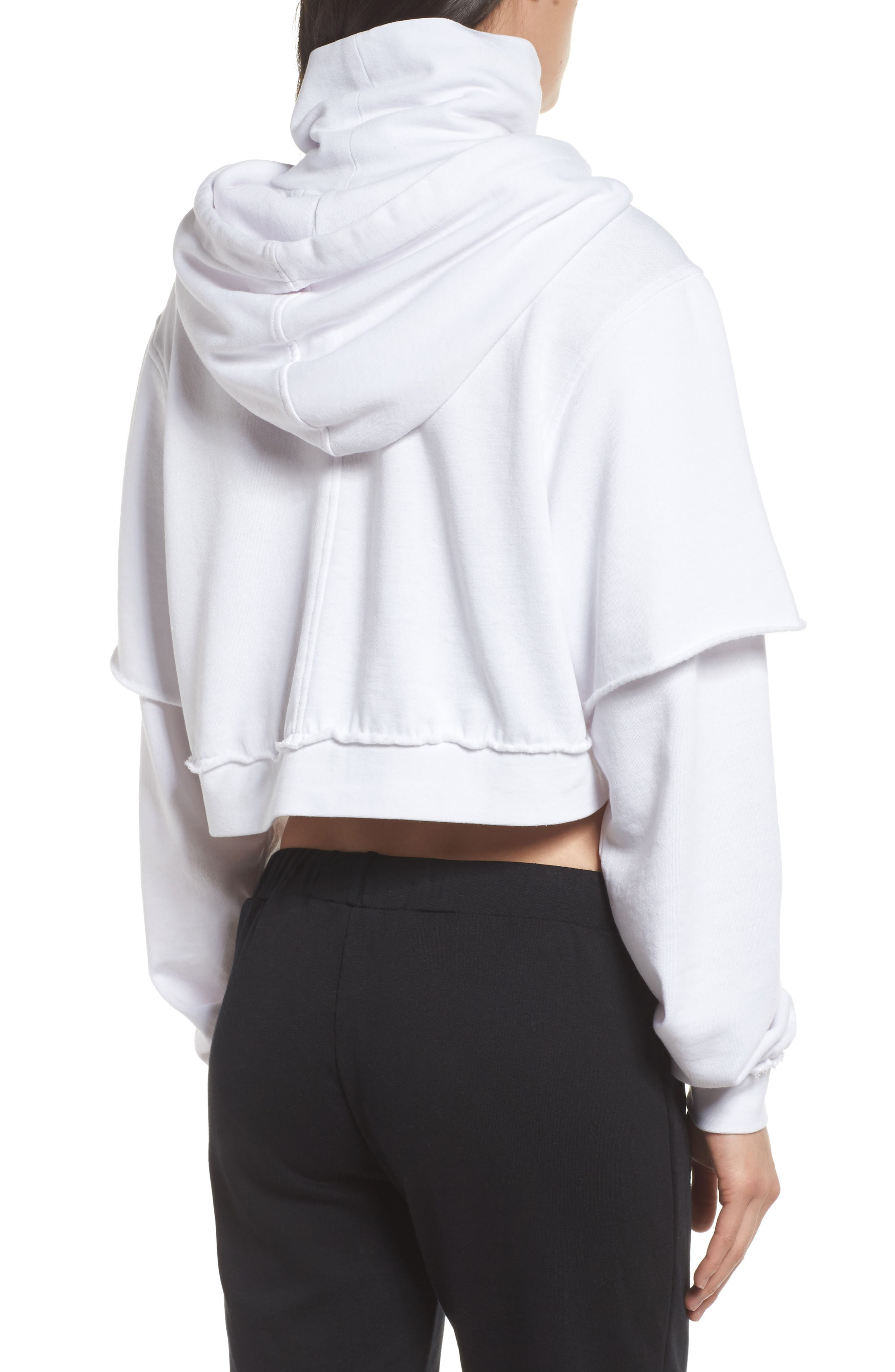 Good Hood Crop Hoodie,                             Alternate thumbnail 2, color,                             White