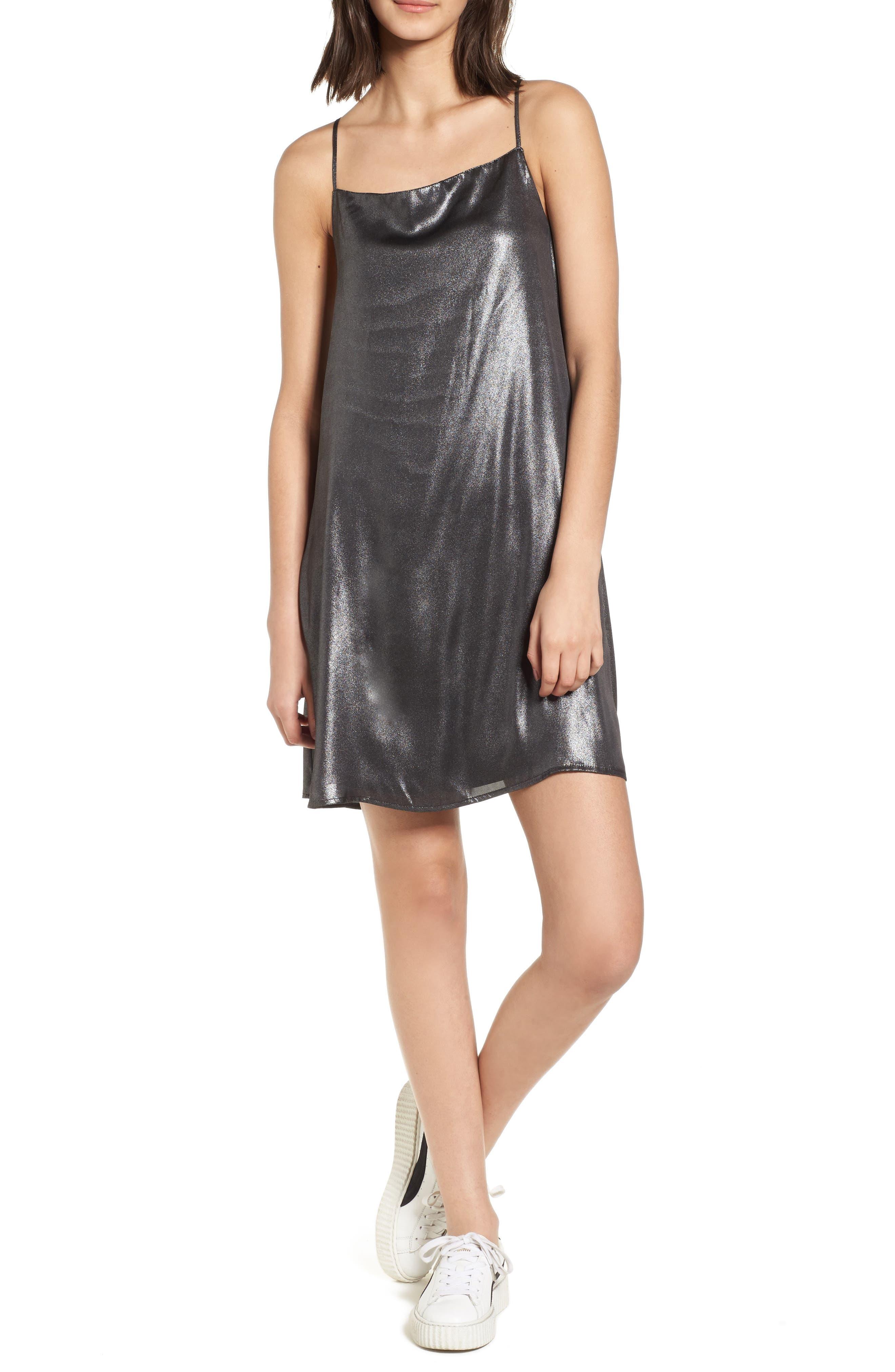 Mental 4 Metal Slipdress,                         Main,                         color, Black/ Silver