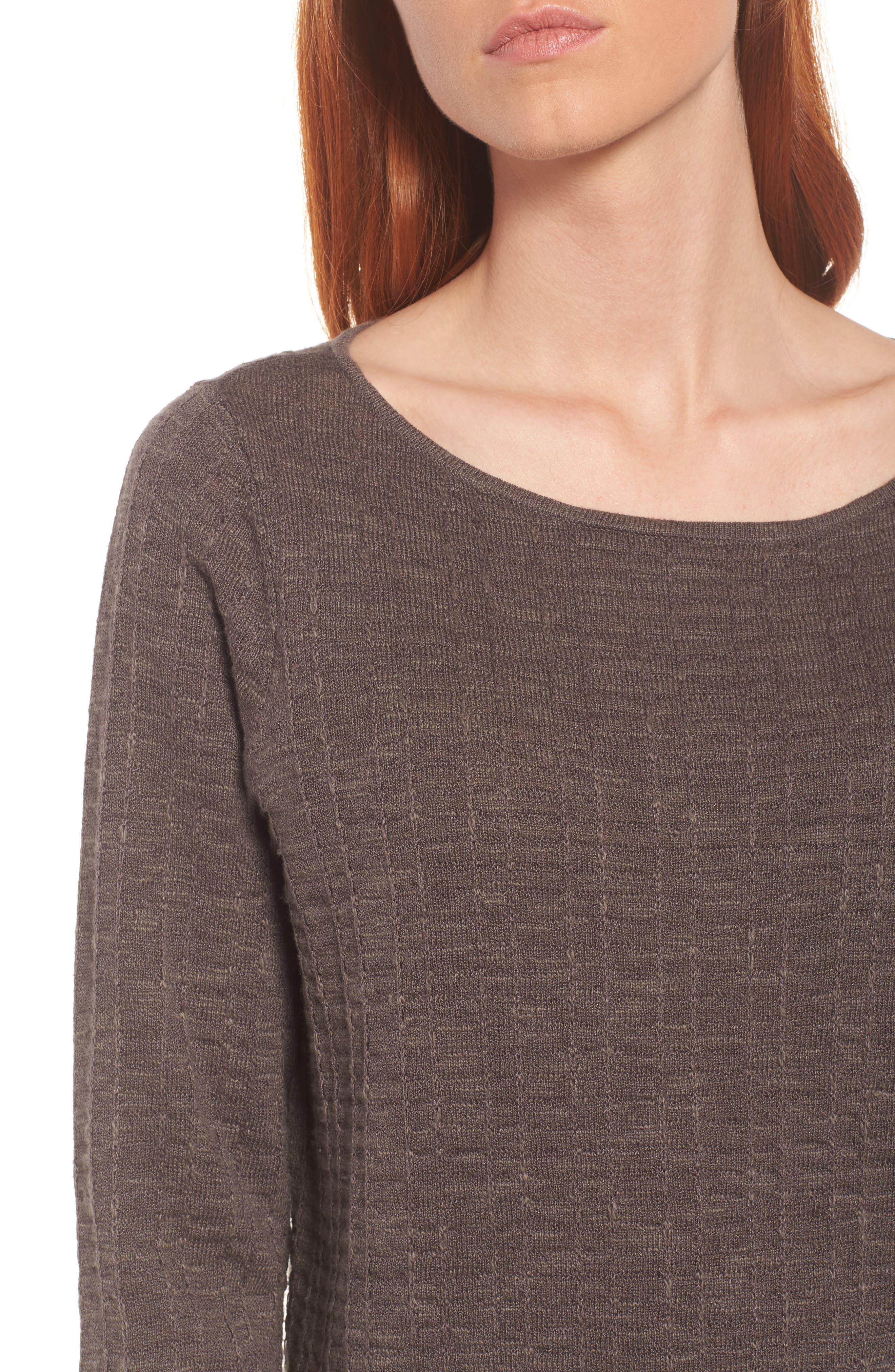 Organic Linen & Cotton Sweater,                             Alternate thumbnail 4, color,                             Rye