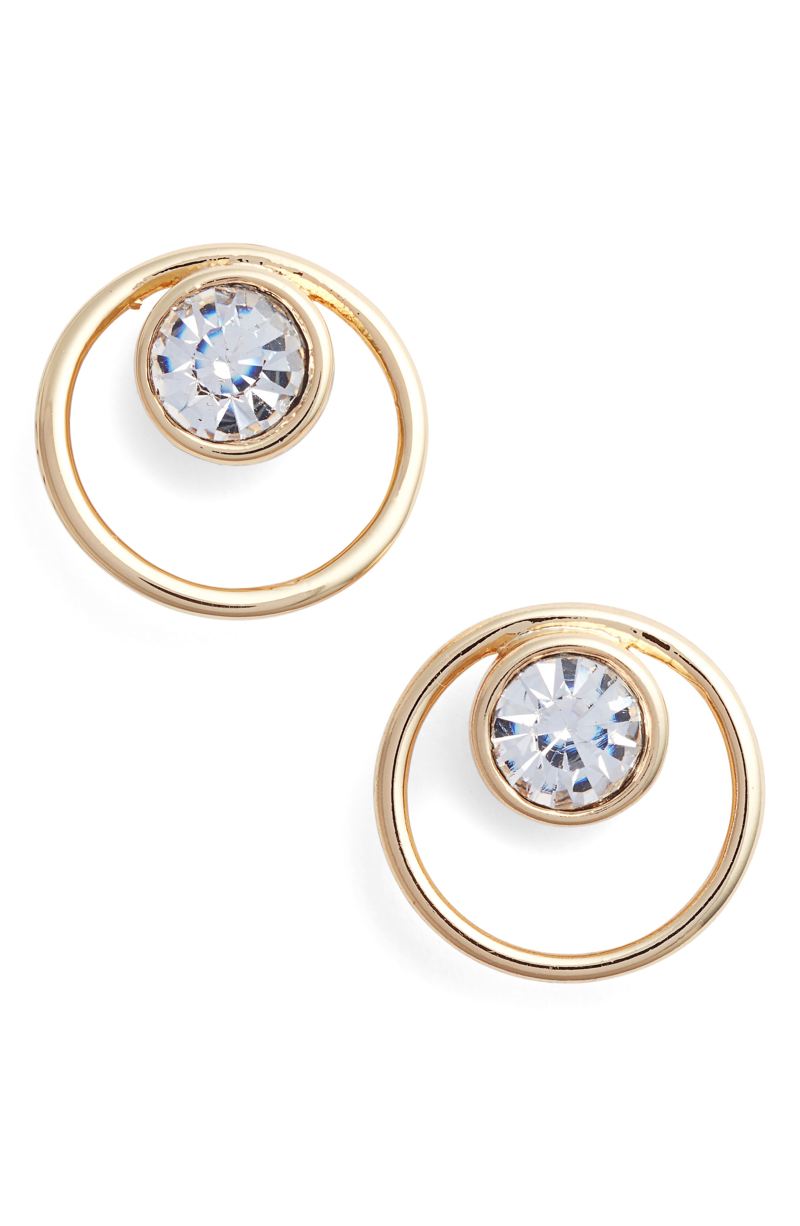 Open Circle Stone Stud Earrings,                             Main thumbnail 1, color,                             Clear-Gold