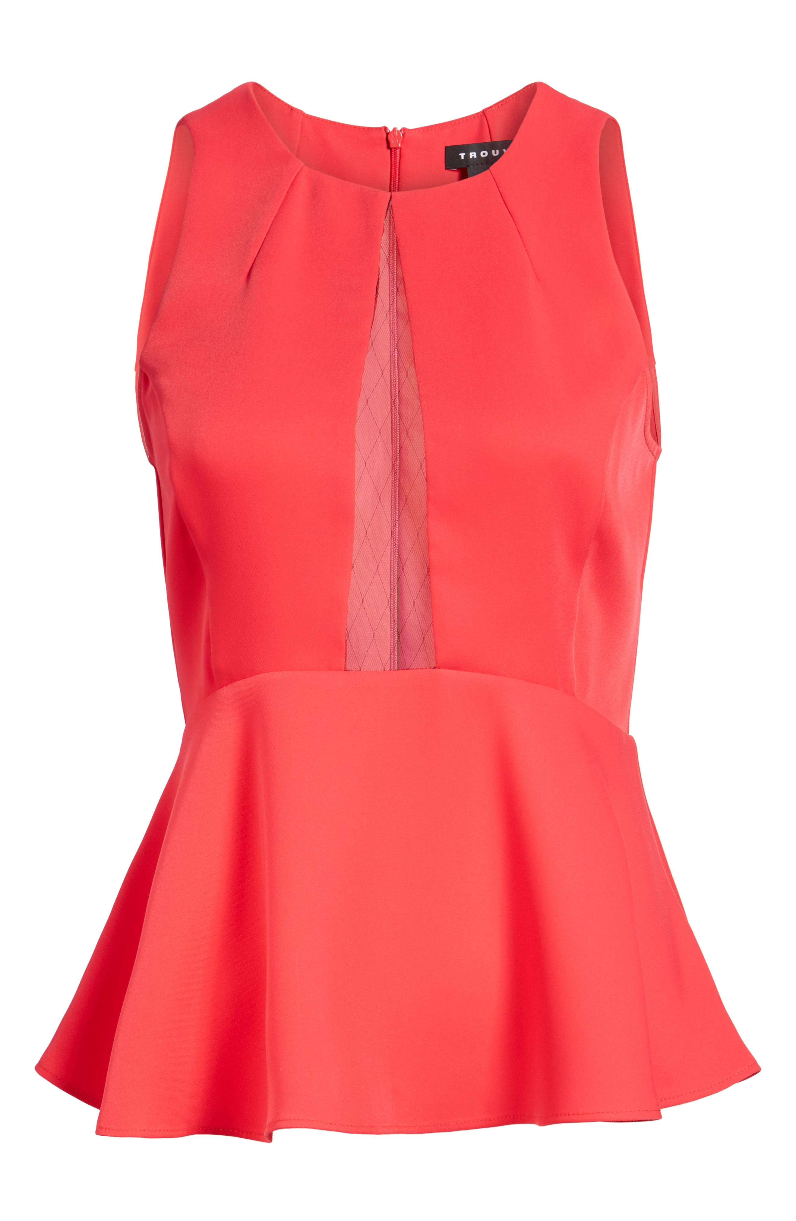 Date Peplum Top,                             Alternate thumbnail 6, color,                             Red Barberry