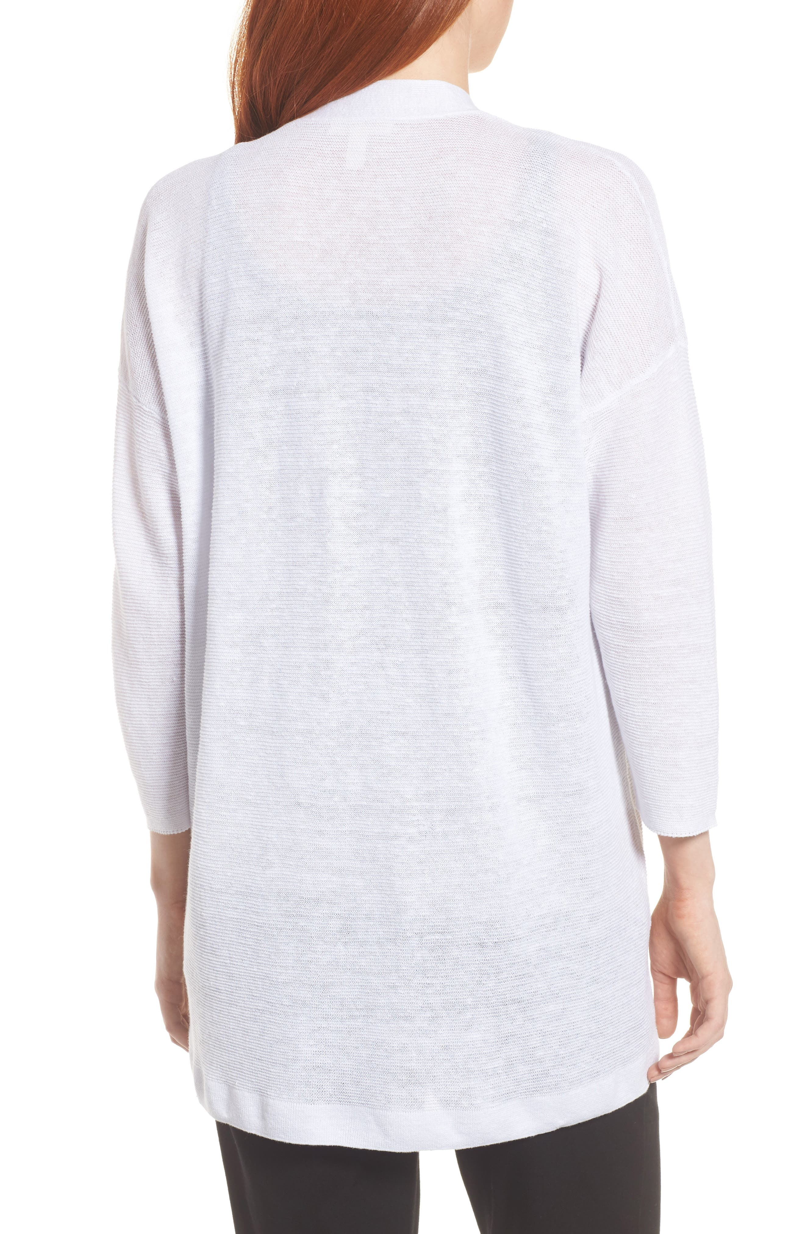 Boxy Organic Linen Cardigan,                             Alternate thumbnail 2, color,                             White