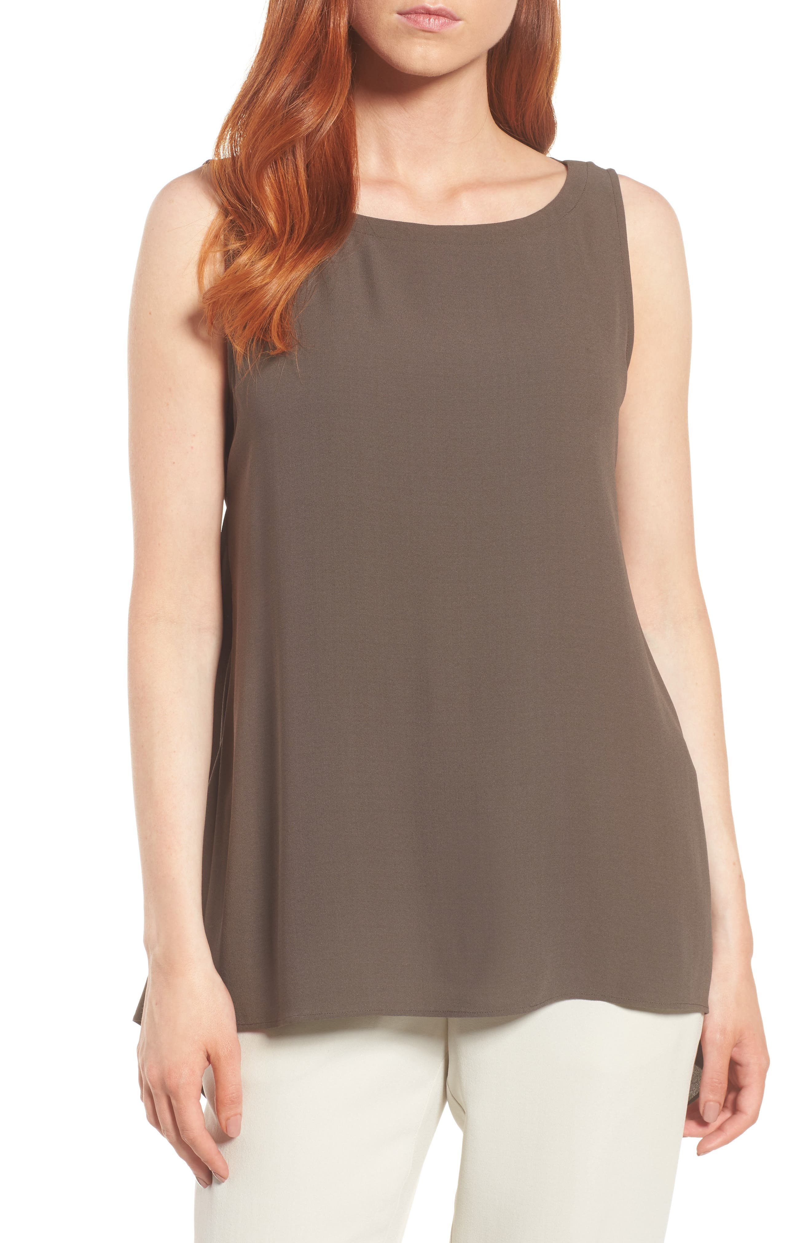 Wrap Back Silk Tank,                         Main,                         color, Rye