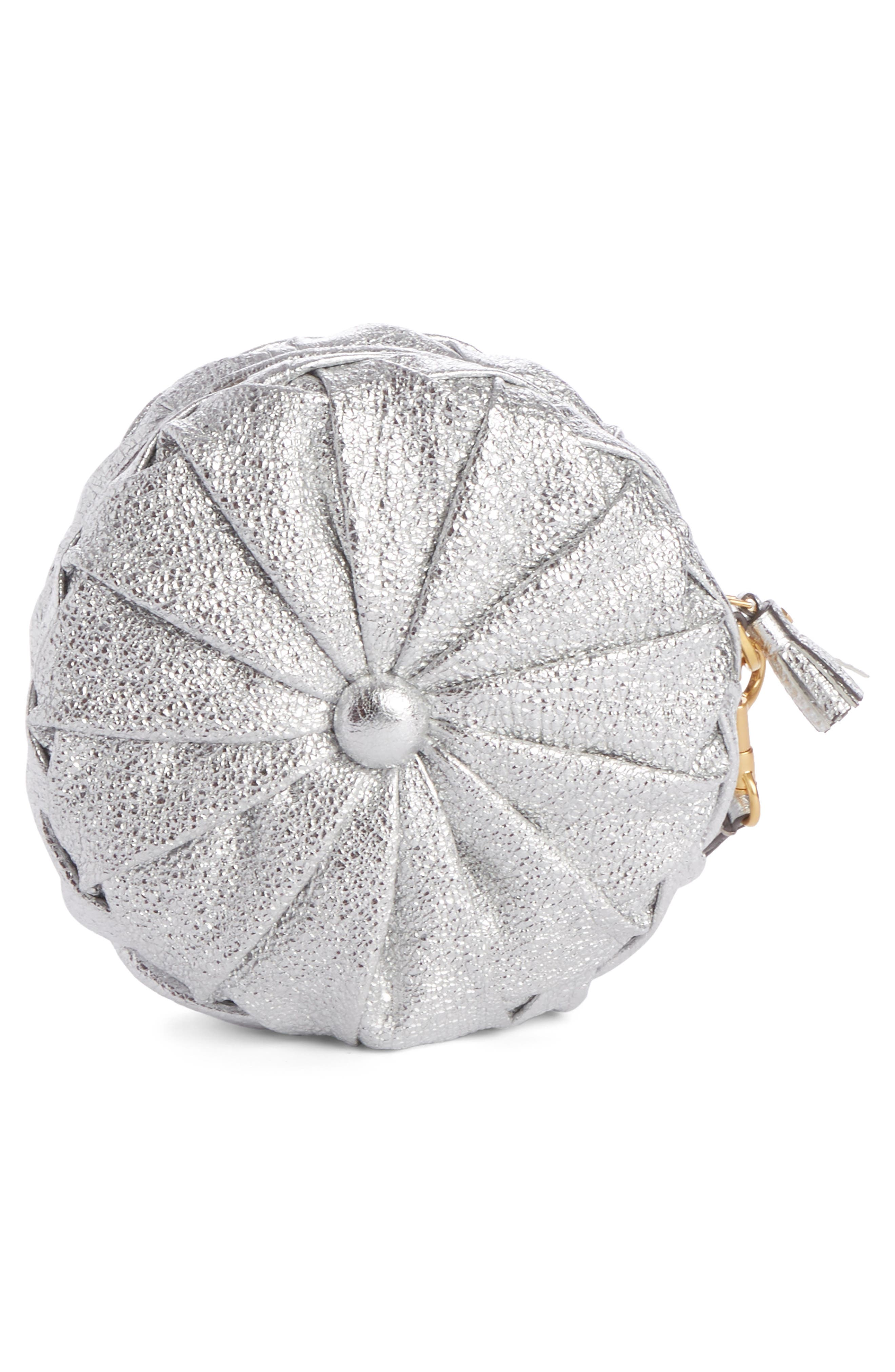 Circle Pillow Metallic Leather Clutch,                             Alternate thumbnail 2, color,                             Silver