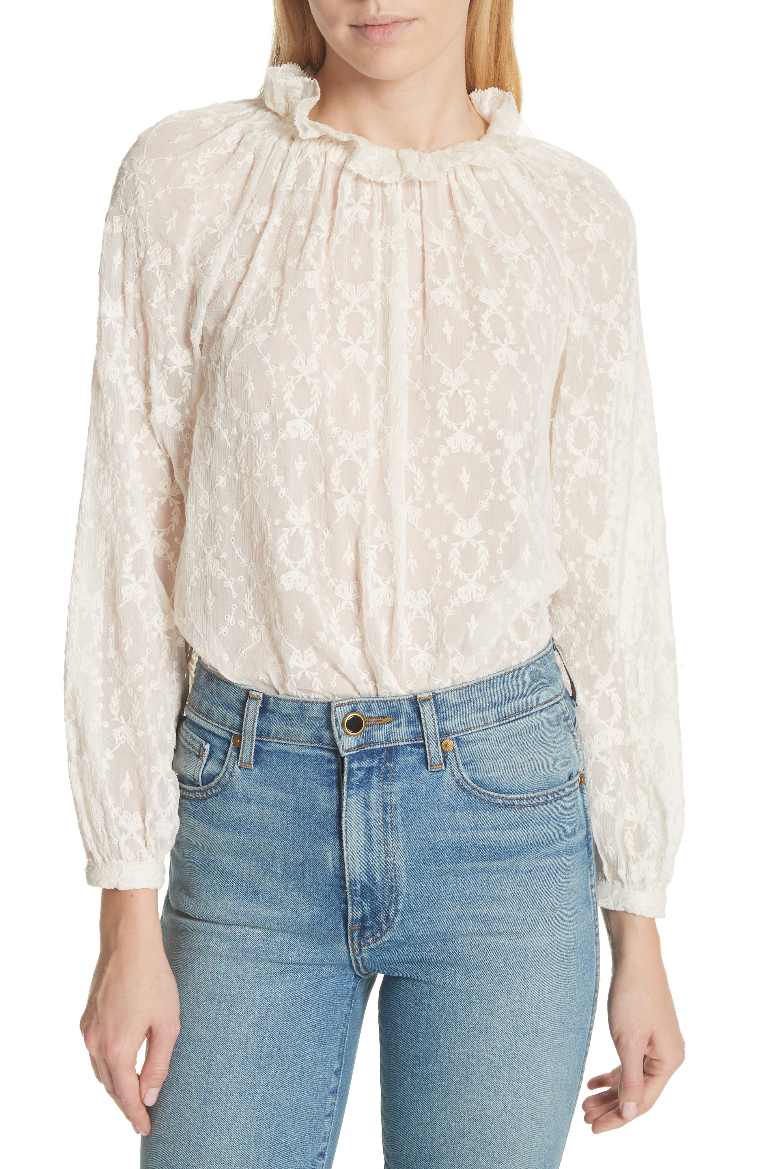 Lily Embroidered Silk Top,                             Main thumbnail 1, color,                             Snow