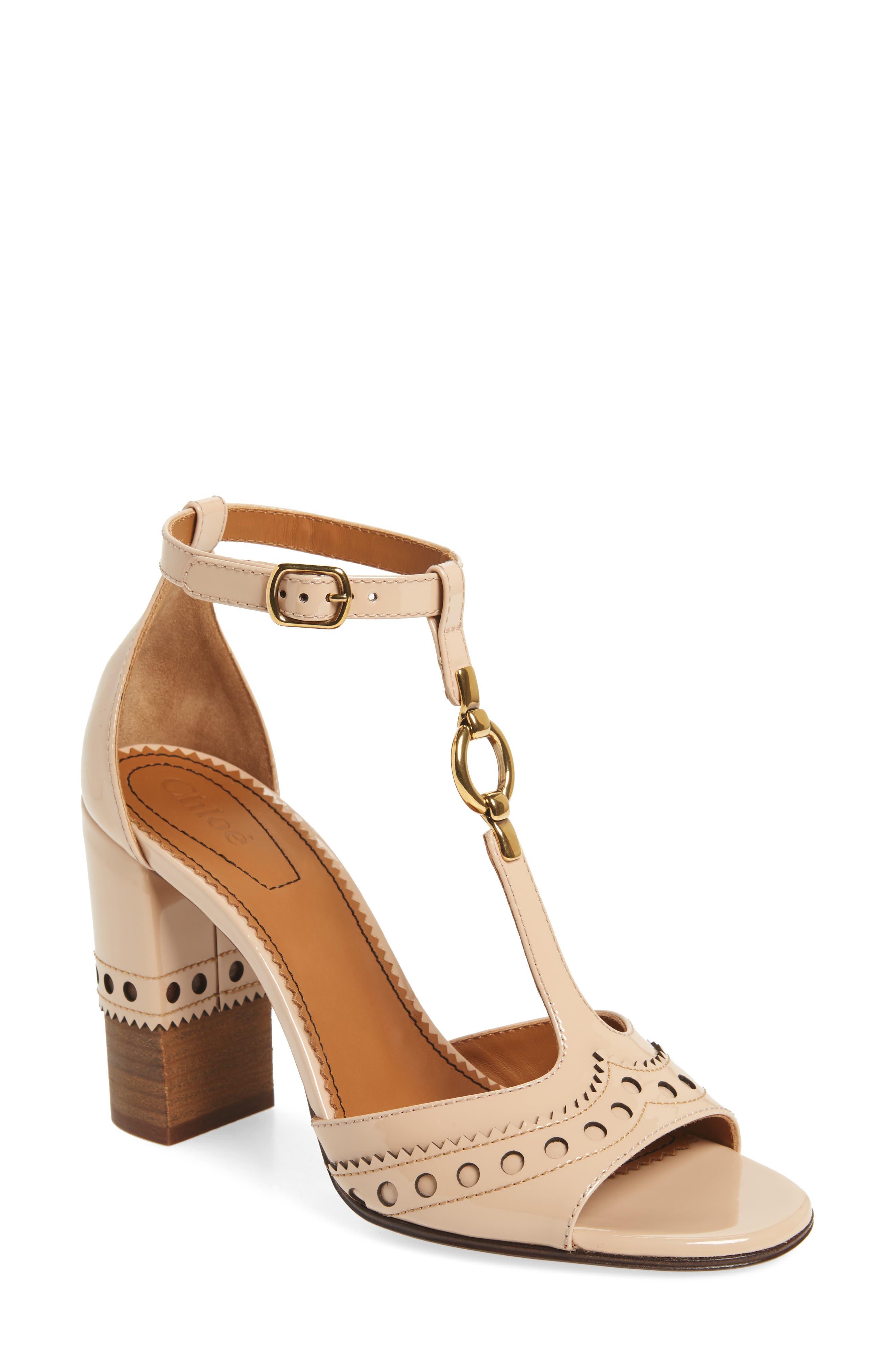Perry T-Strap Sandal,                         Main,                         color, Mild Beige