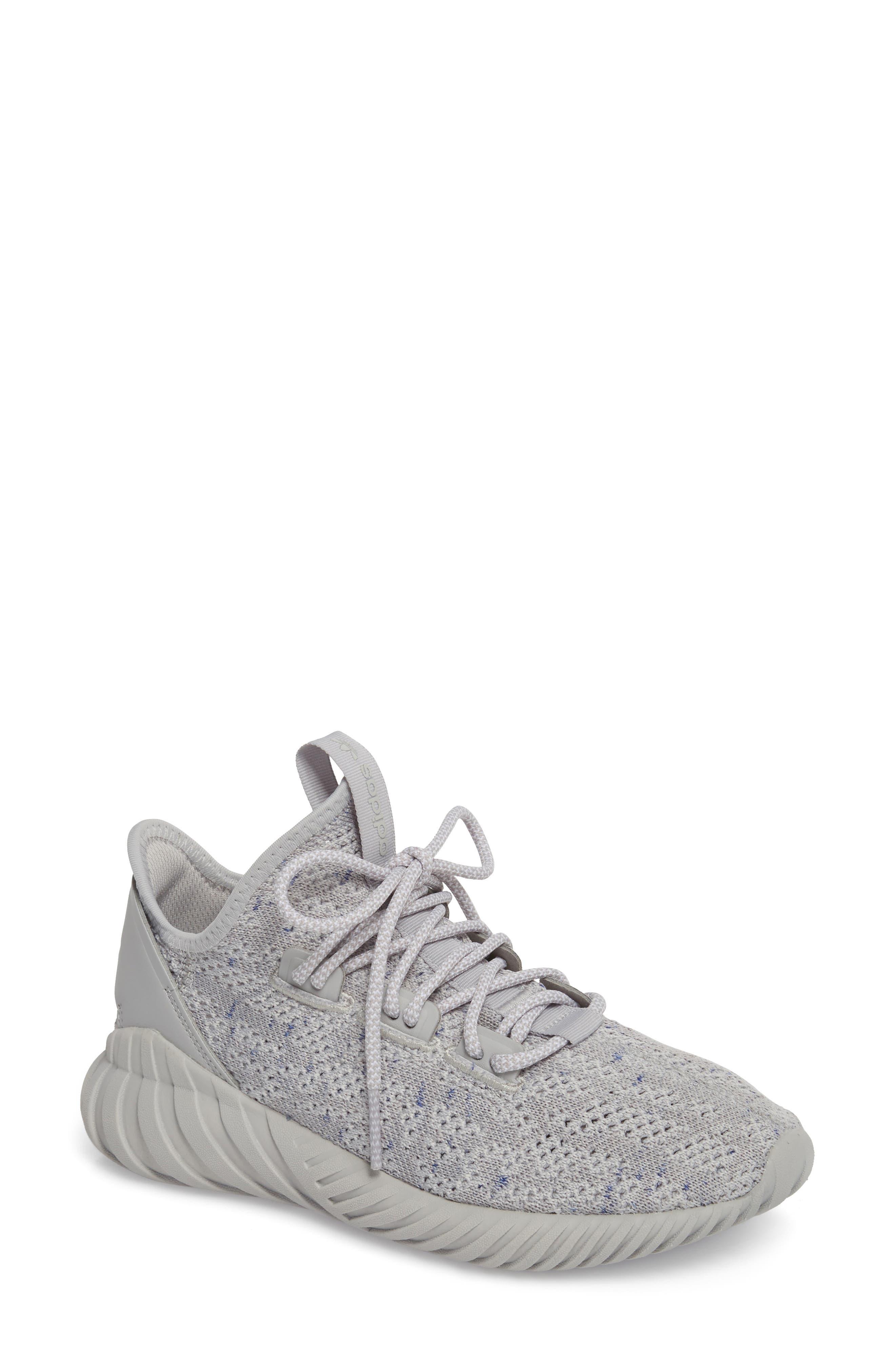 Tubular Doom Sock Primeknit Sneaker,                             Main thumbnail 1, color,                             Grey/ White/ Blue