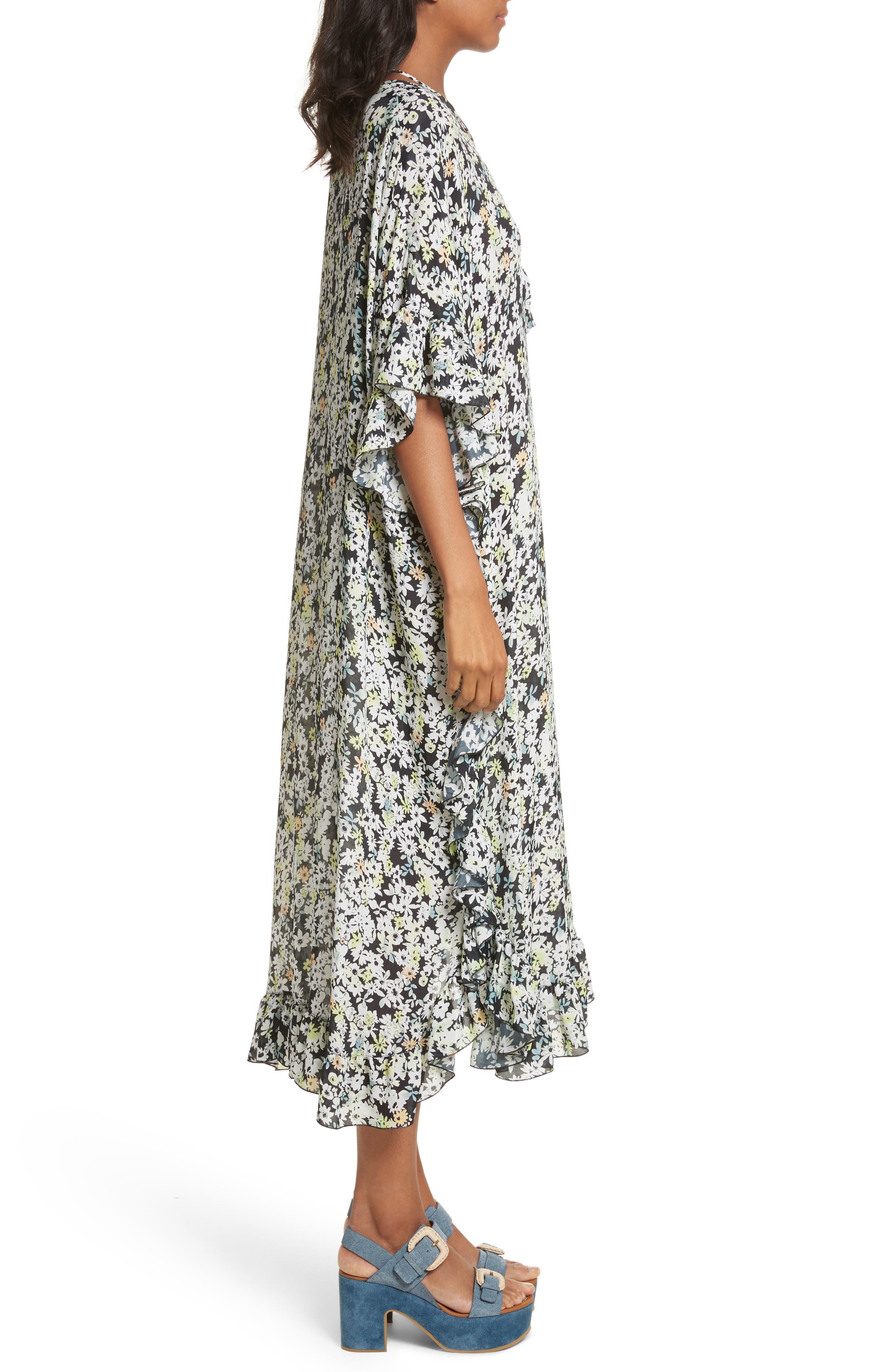 Floral Print Flutter Edge Dress,                             Alternate thumbnail 3, color,                             Multicolor Grey