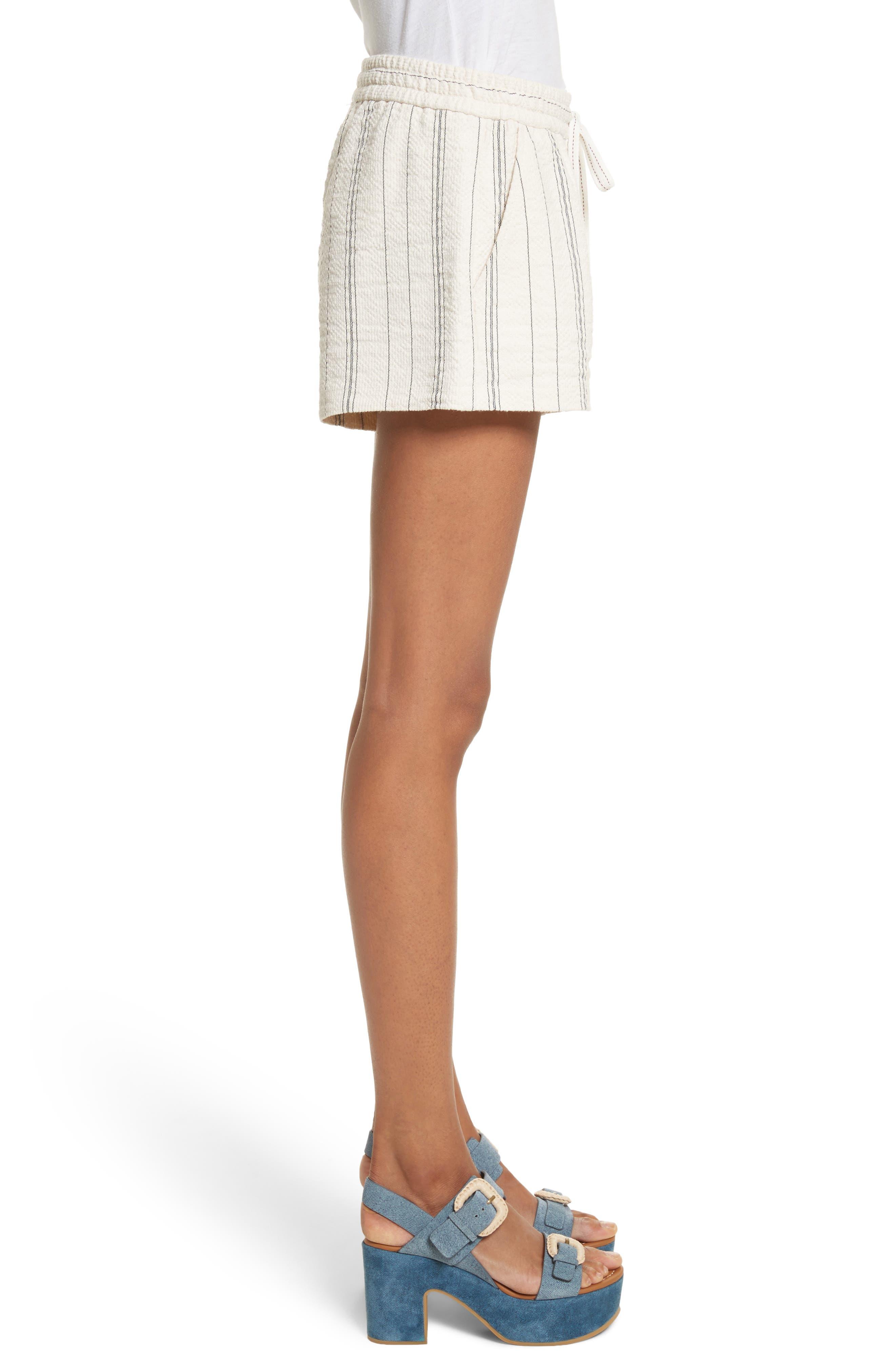 Stripe Shorts,                             Alternate thumbnail 3, color,                             White/ Black