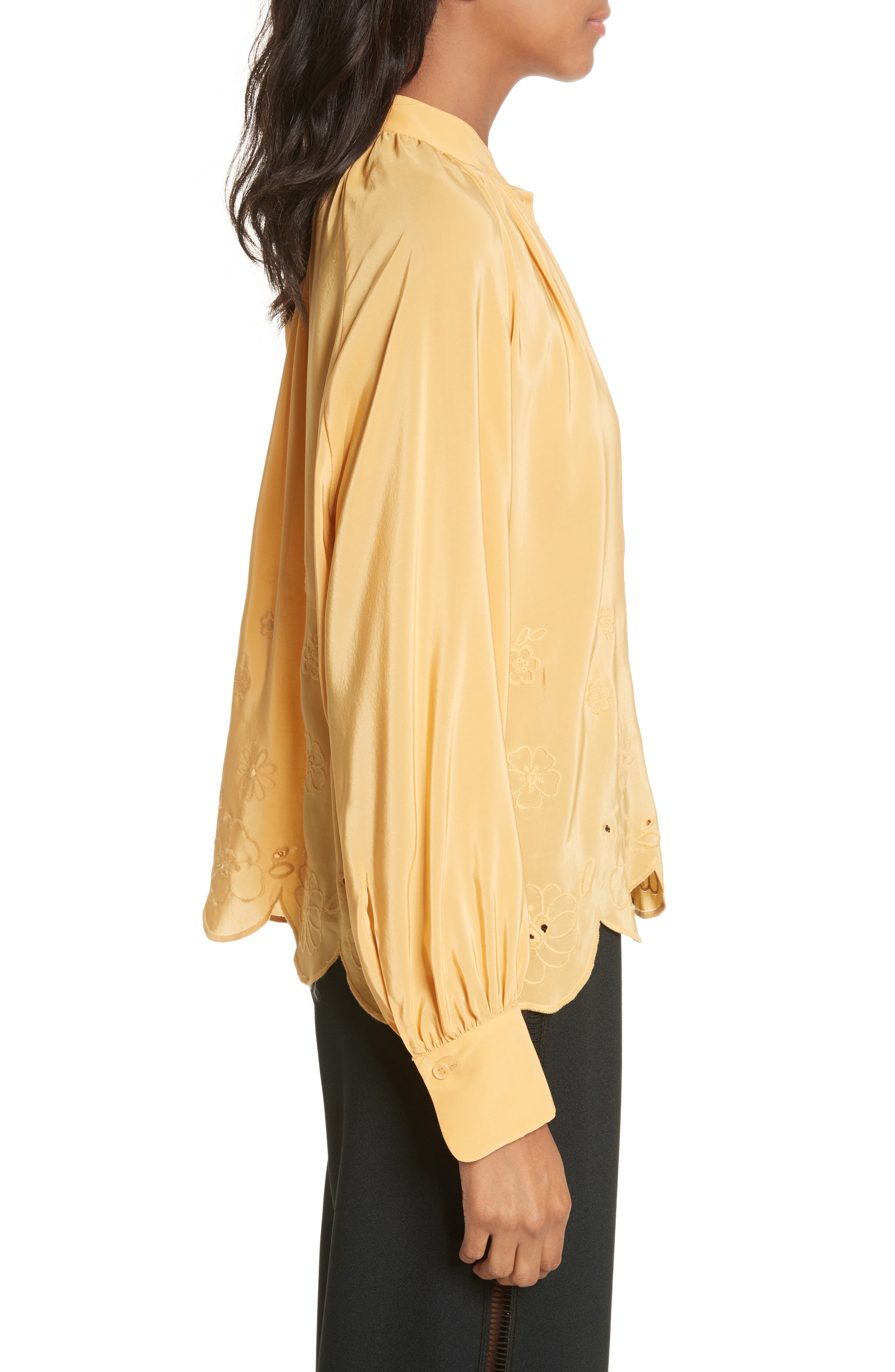 Embroidered Scallop Hem Shirt,                             Alternate thumbnail 3, color,                             Ochre