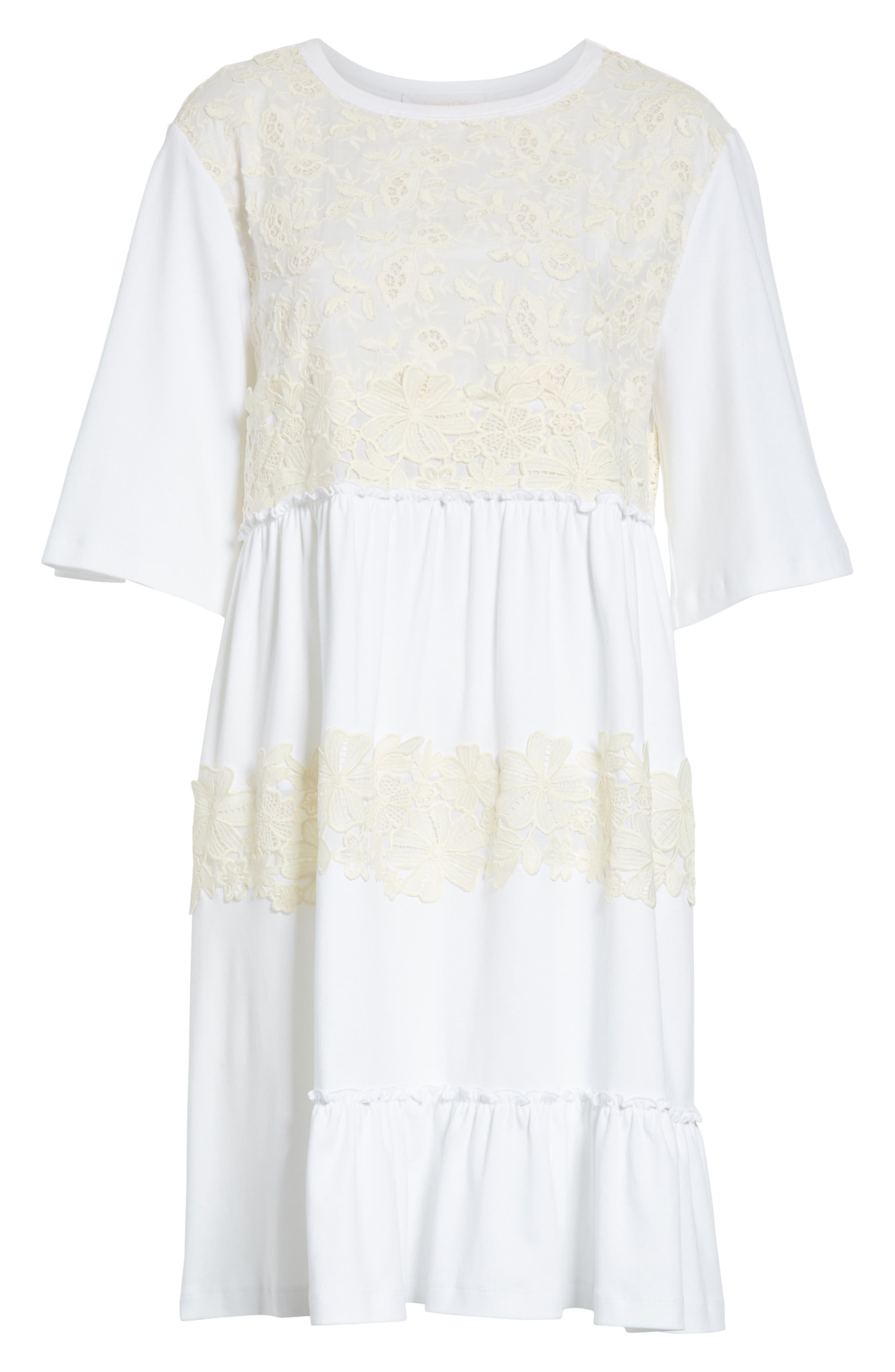Crochet Panel Dress,                             Alternate thumbnail 6, color,                             White