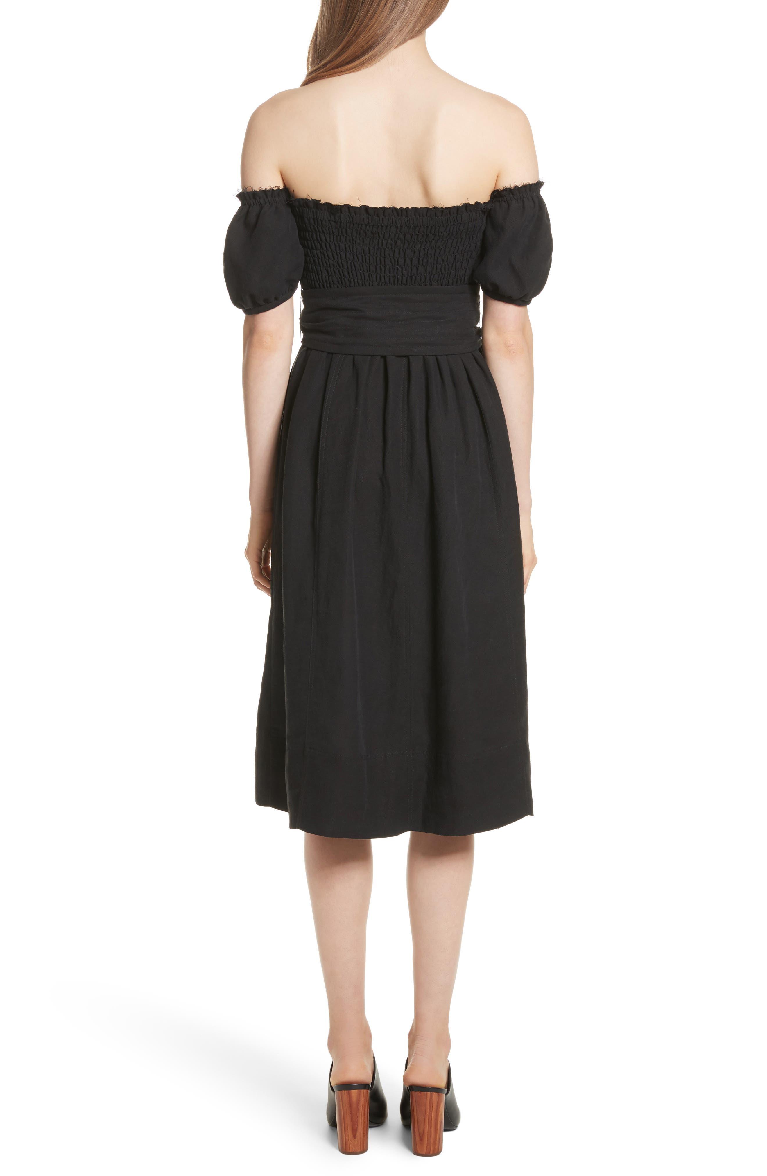 Lalla Off the Shoulder Linen Blend Dress,                             Alternate thumbnail 2, color,                             Black