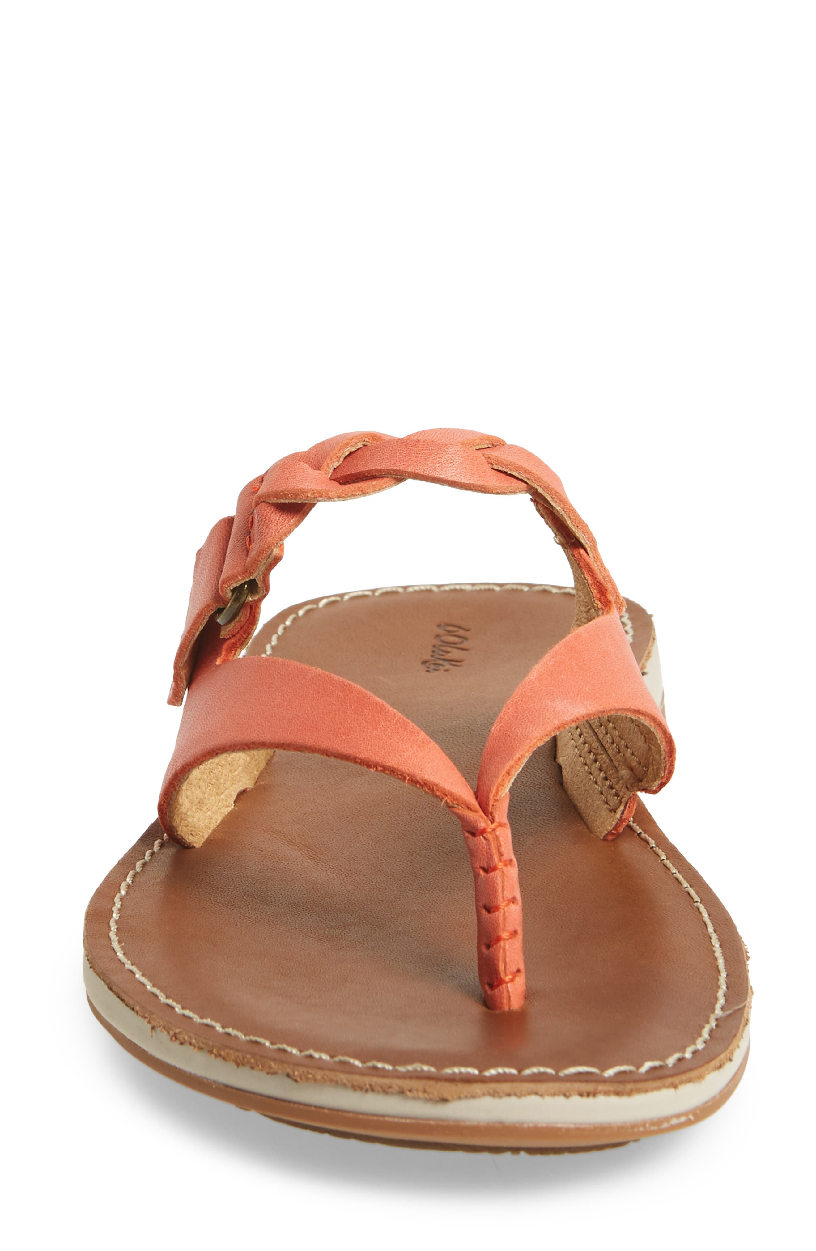 Kahikolu Flip Flop,                             Alternate thumbnail 4, color,                             Peach/ Tan Leather