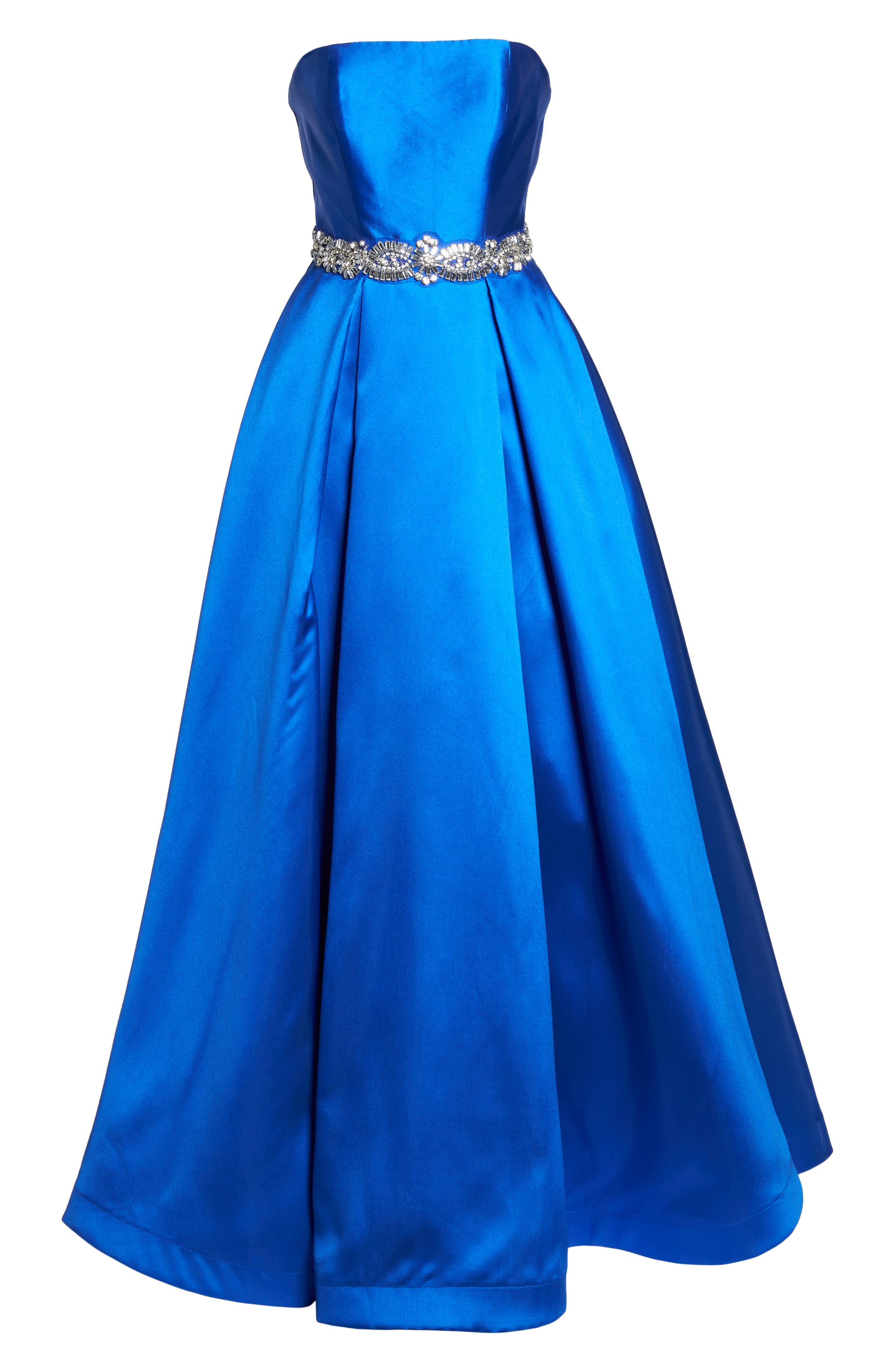Embellished Strapless Ballgown,                             Alternate thumbnail 6, color,                             Blue