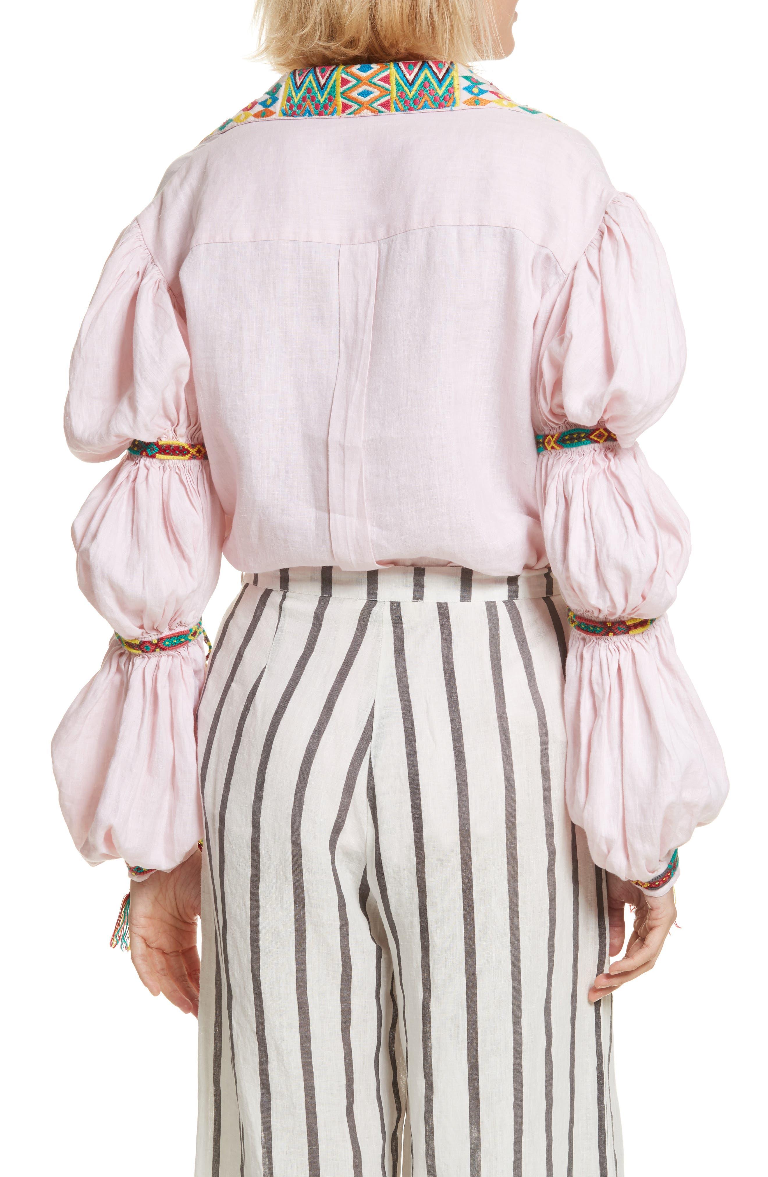 Lillian Bubble Sleeve Linen Shirt,                             Alternate thumbnail 2, color,                             Baby Pink
