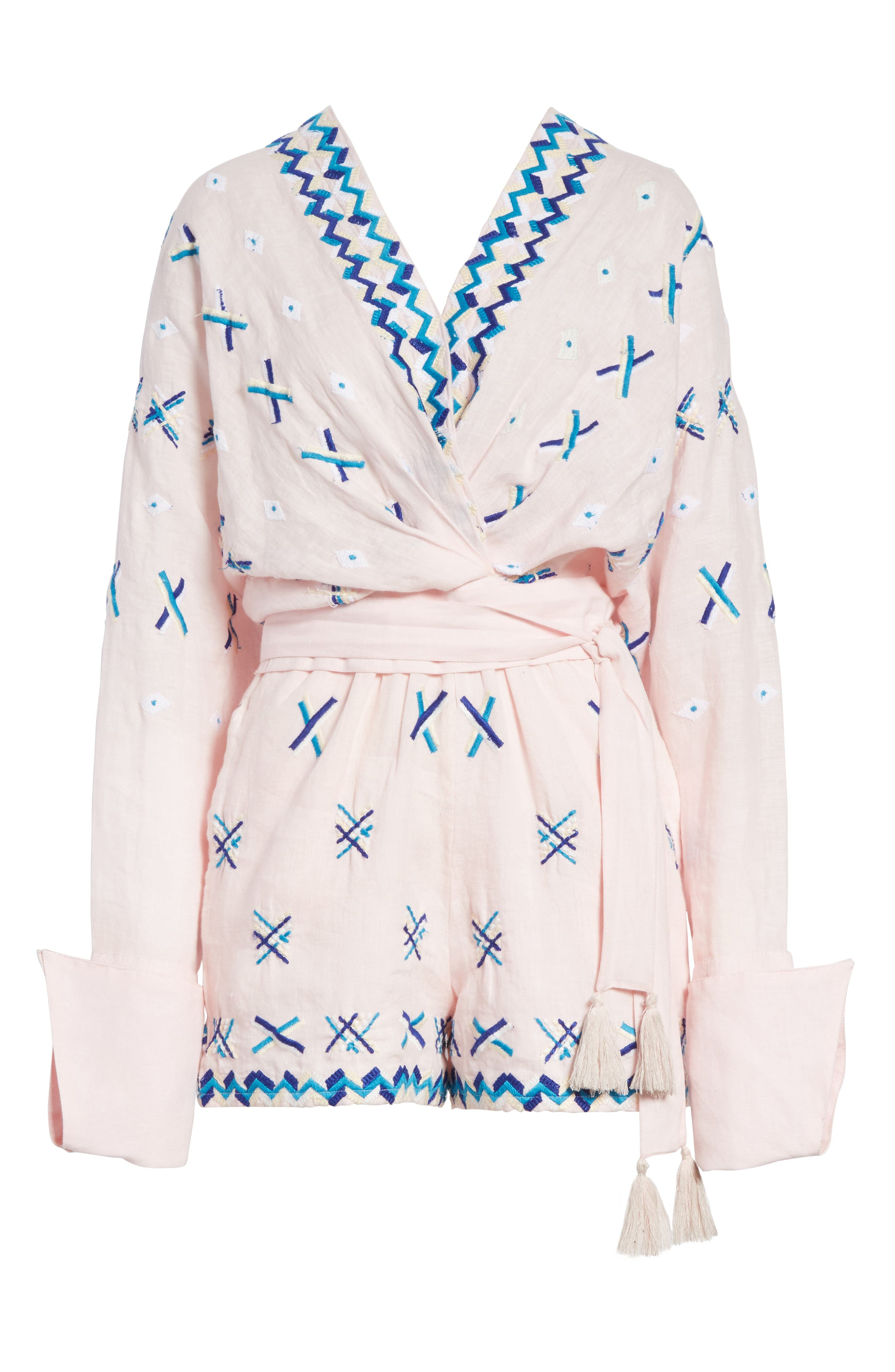 Magda Embroidered Romper,                             Alternate thumbnail 6, color,                             Baby Pink