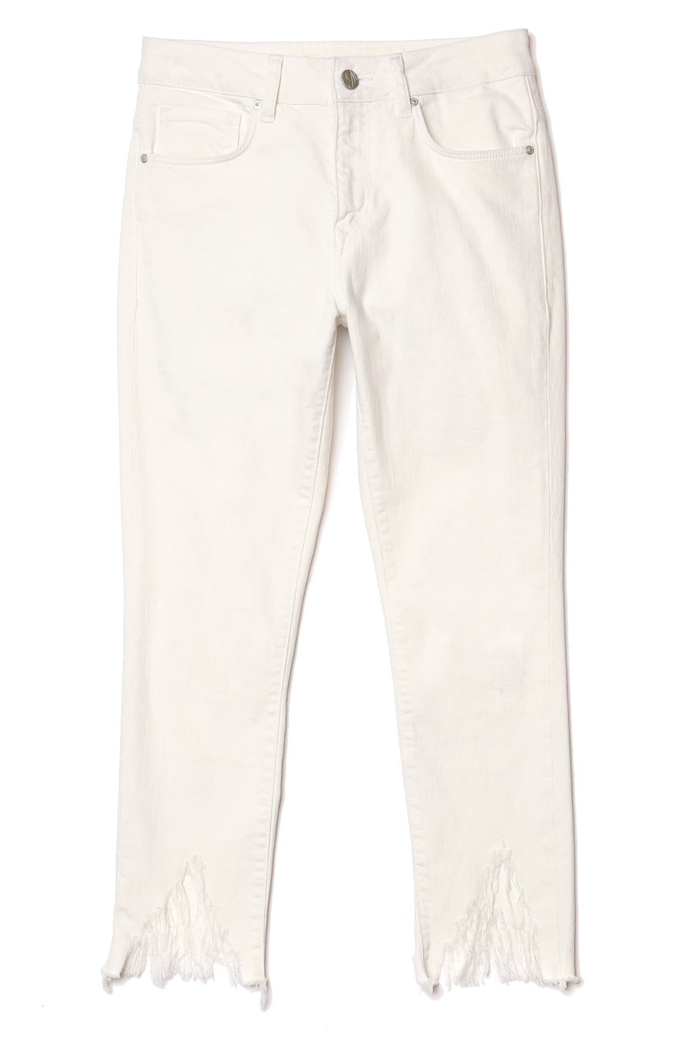 Mavi Tess Vintage Fringe Super Skinny Jeans,                             Alternate thumbnail 5, color,                             White Fringe Vintage