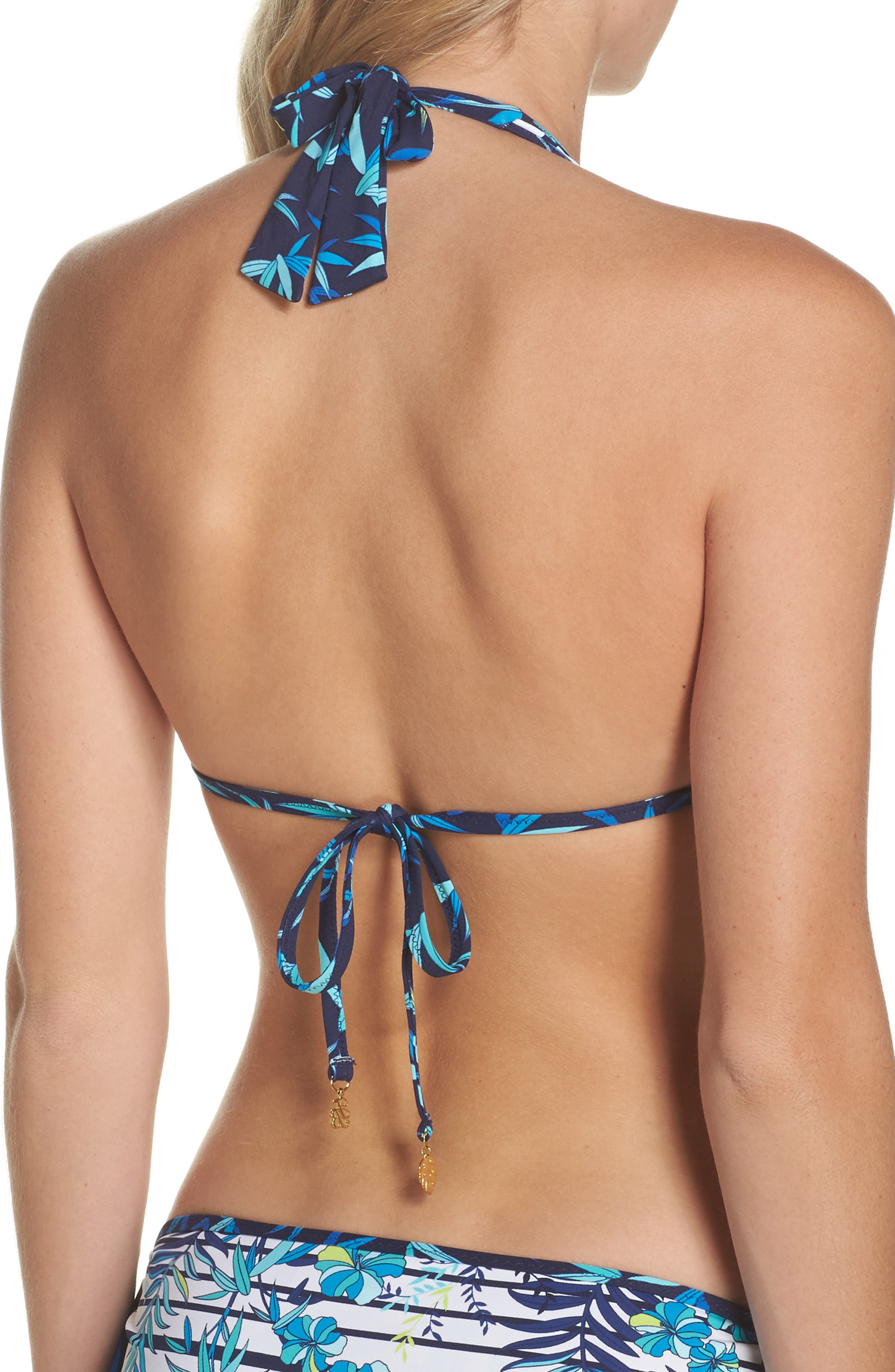 Tropical Swirl Reversible Halter Bikini Top,                             Alternate thumbnail 2, color,                             Blue/ White