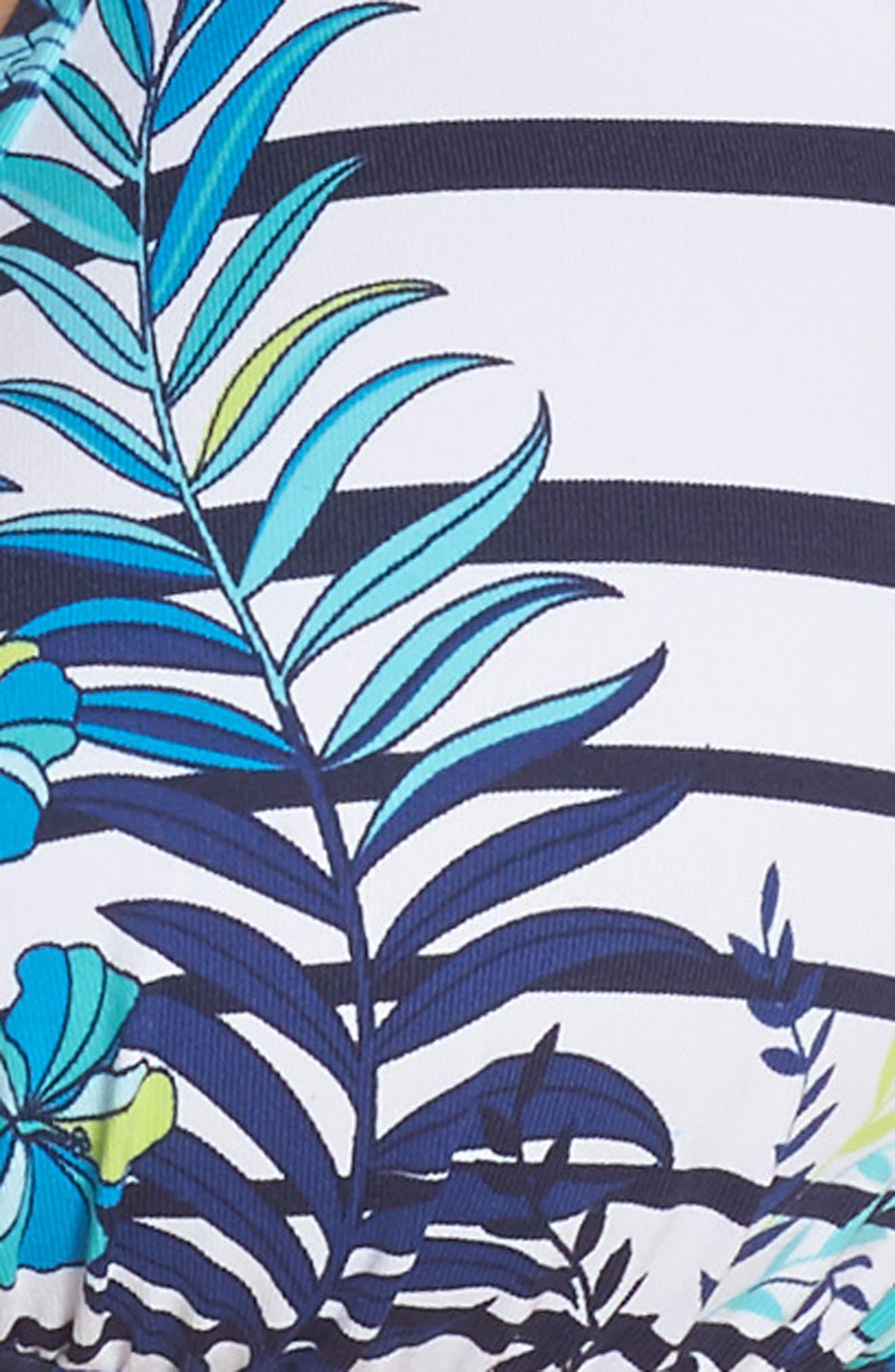 Tropical Swirl Reversible Halter Bikini Top,                             Alternate thumbnail 8, color,                             Blue/ White