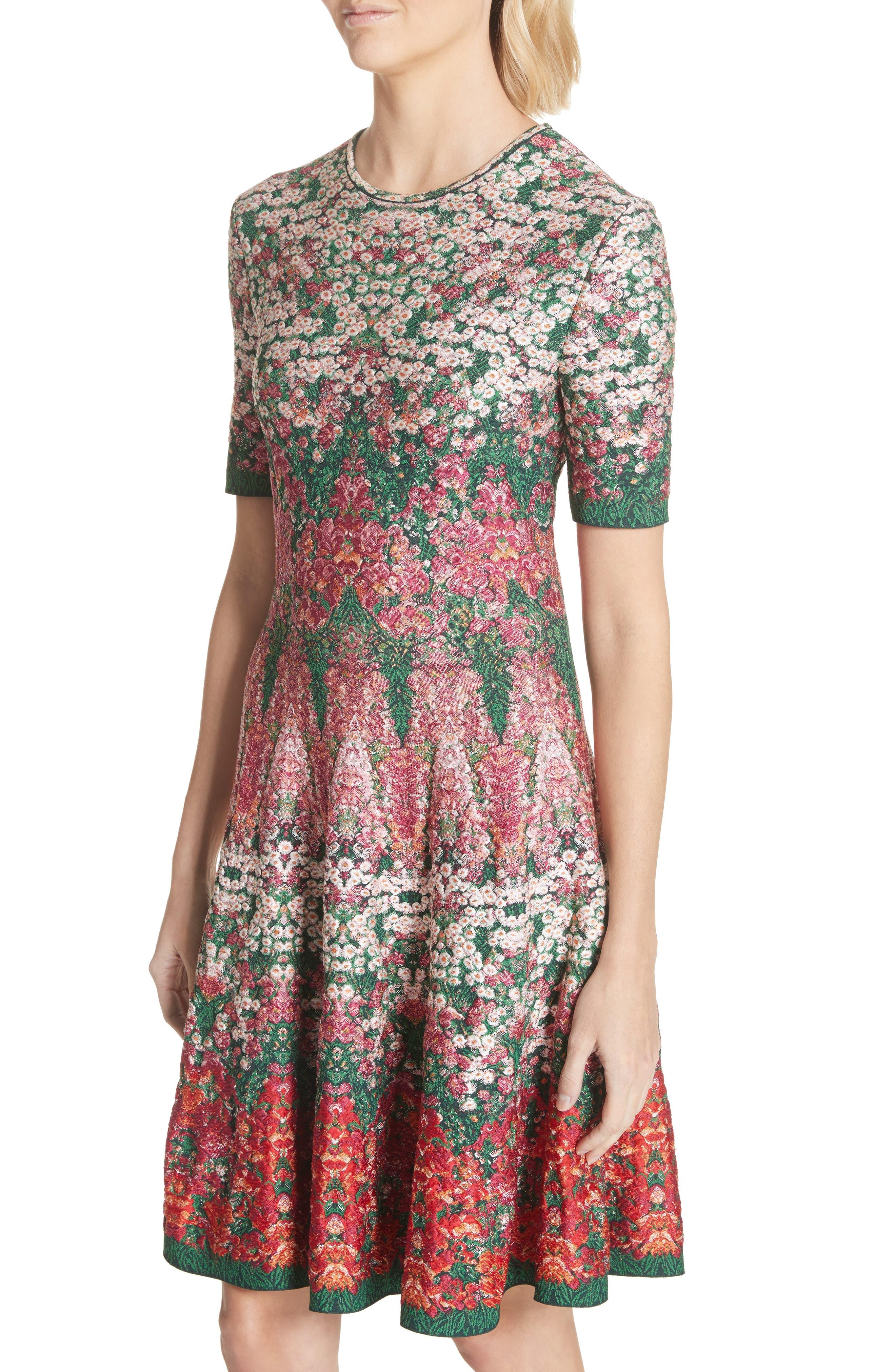 Floral Jacquard Knit Fit & Flare Dress,                             Alternate thumbnail 4, color,                             Multicolor