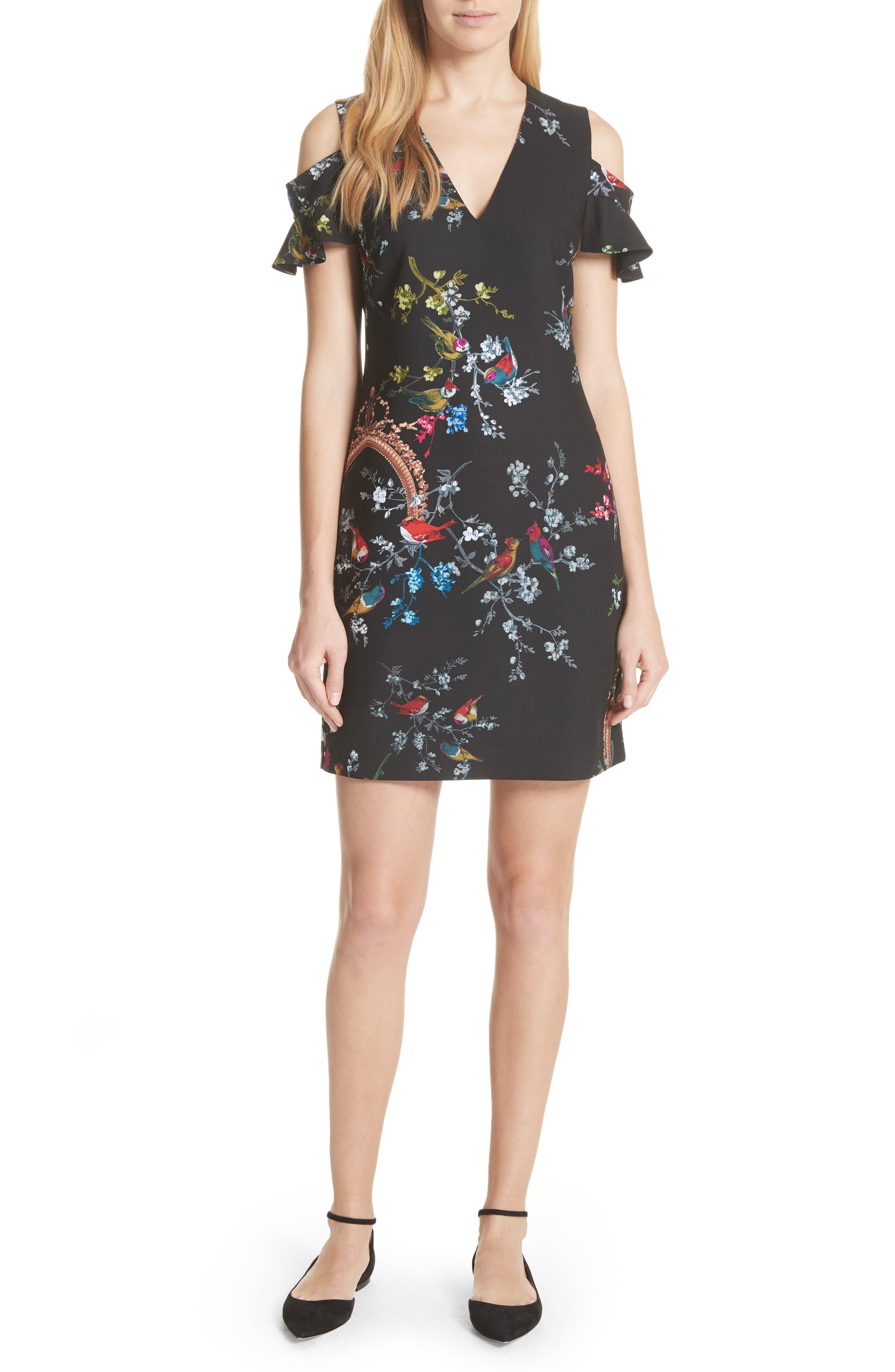 Opulent Fauna Print Cold Shoulder Dress,                             Main thumbnail 1, color,                             Black