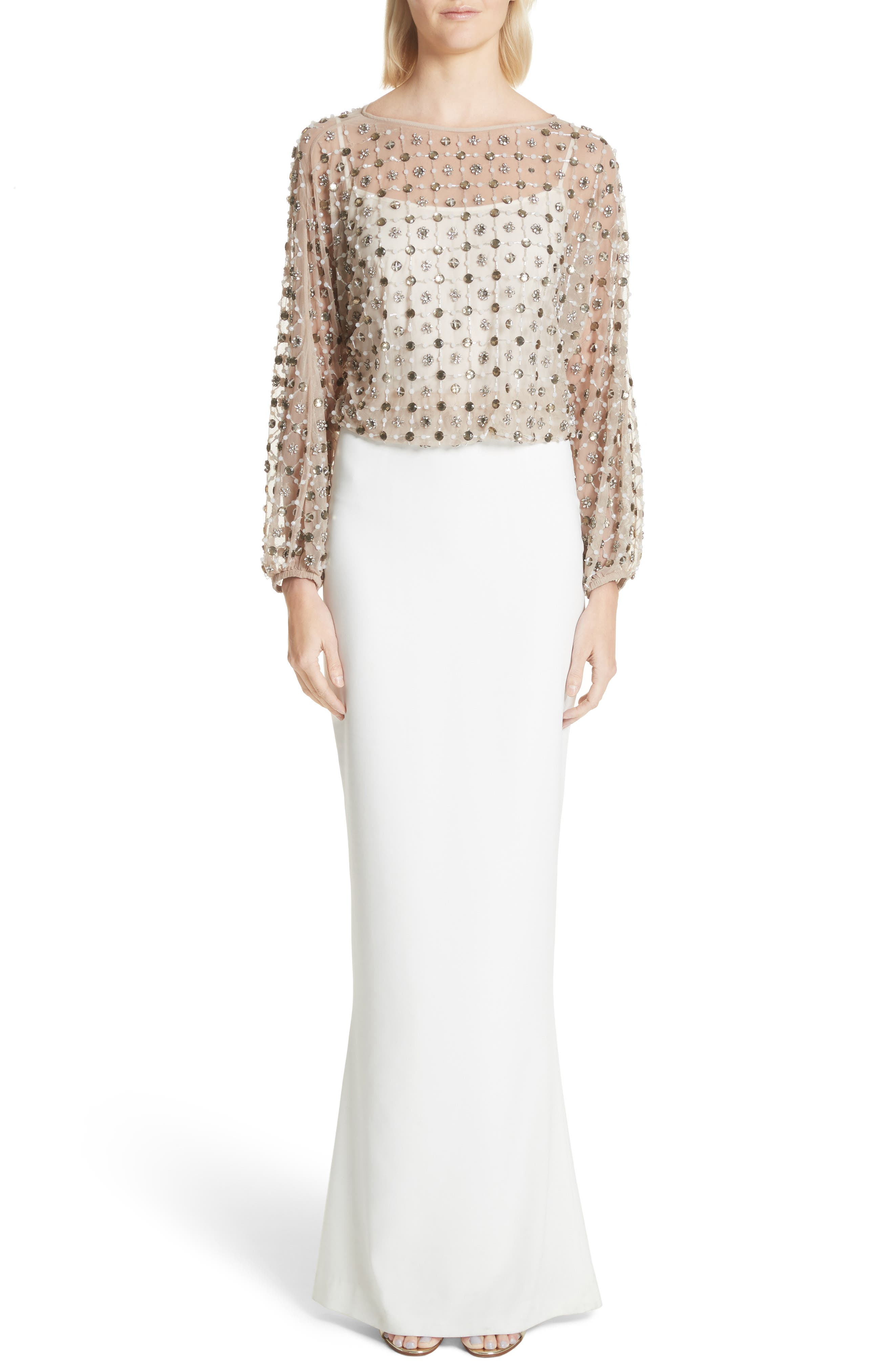 Nora Beaded Blouson Column Gown,                         Main,                         color, Ivory