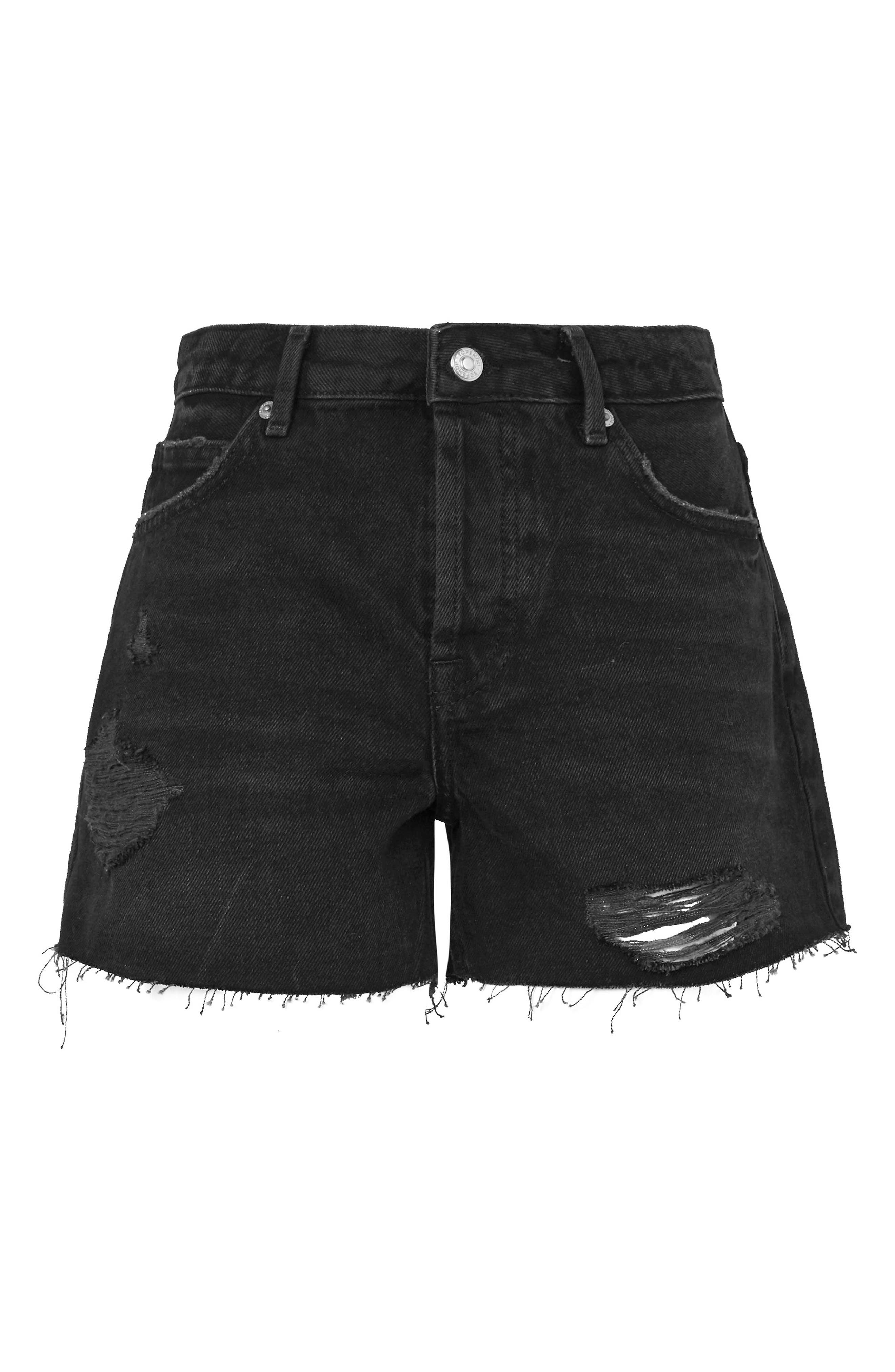 Ashley Distressed Boyfriend Shorts,                             Alternate thumbnail 3, color,                             Washed Black