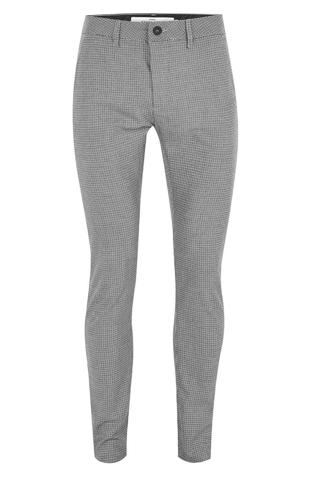 Mini Houndstooth Stretch Skinny Fit Trousers,                             Alternate thumbnail 4, color,                             Grey Multi