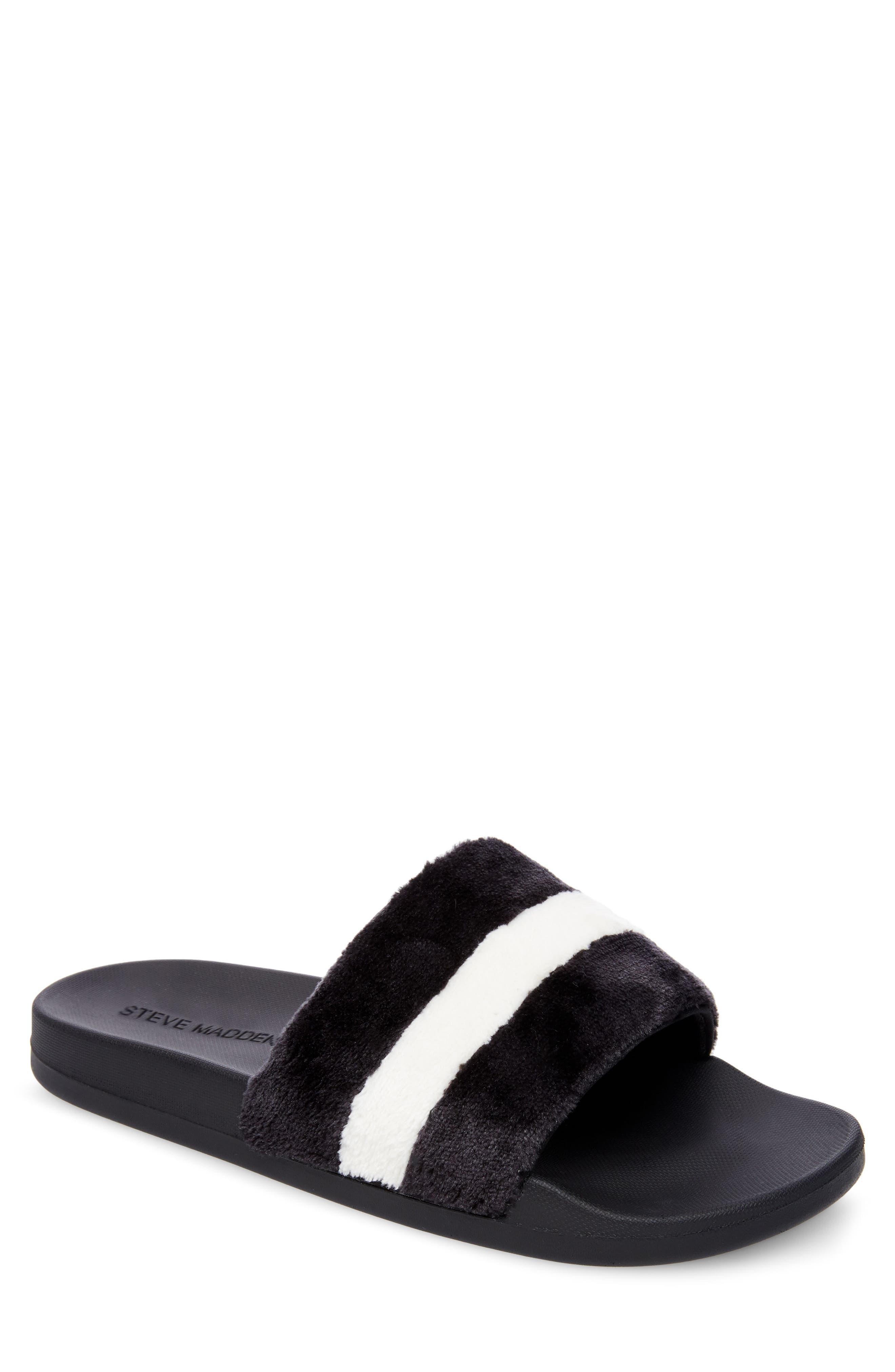 Resport Plush Slide Sandal,                             Main thumbnail 1, color,                             Black/ White