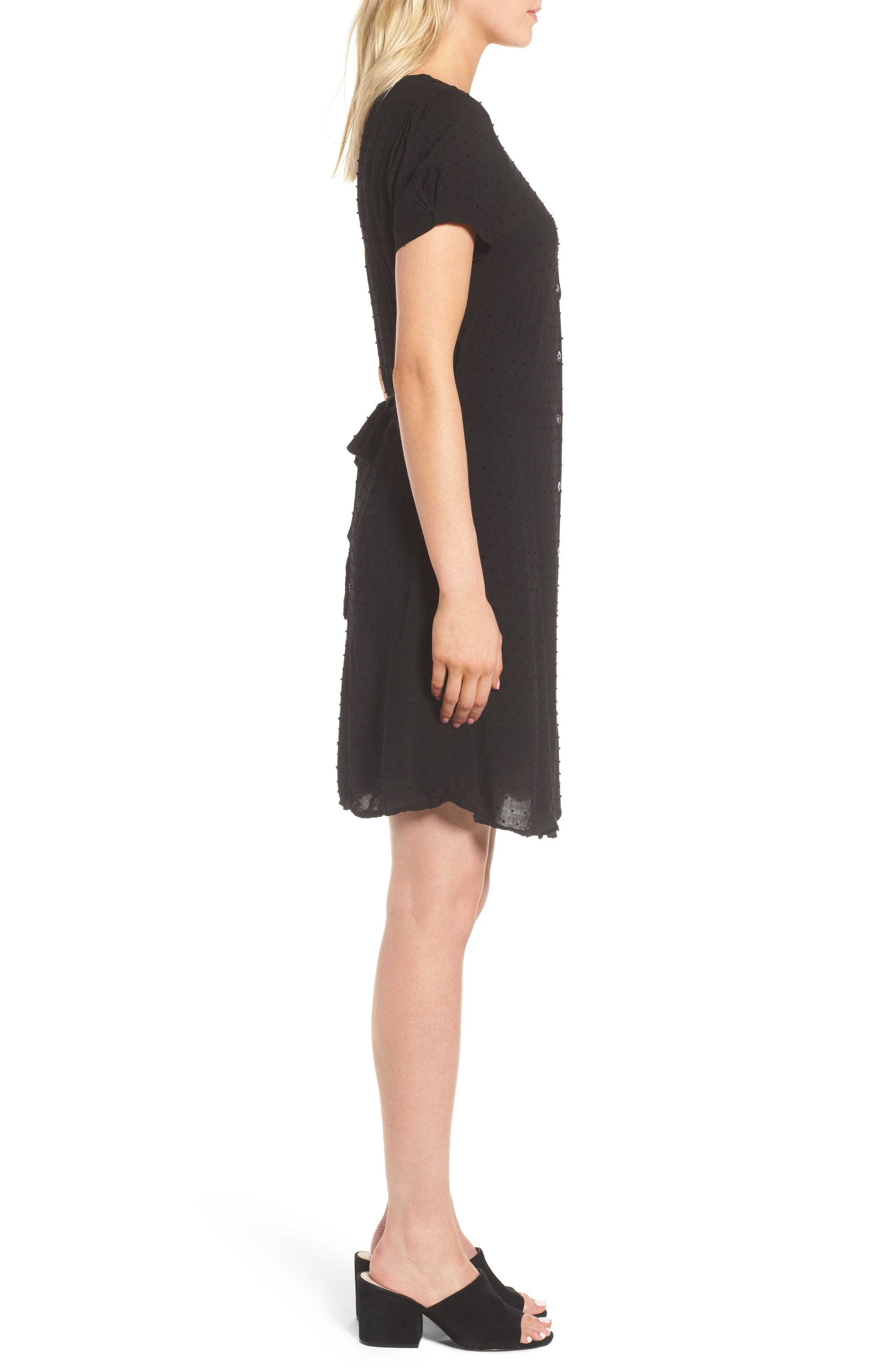Swiss Dot Shirtdress,                             Alternate thumbnail 3, color,                             Black