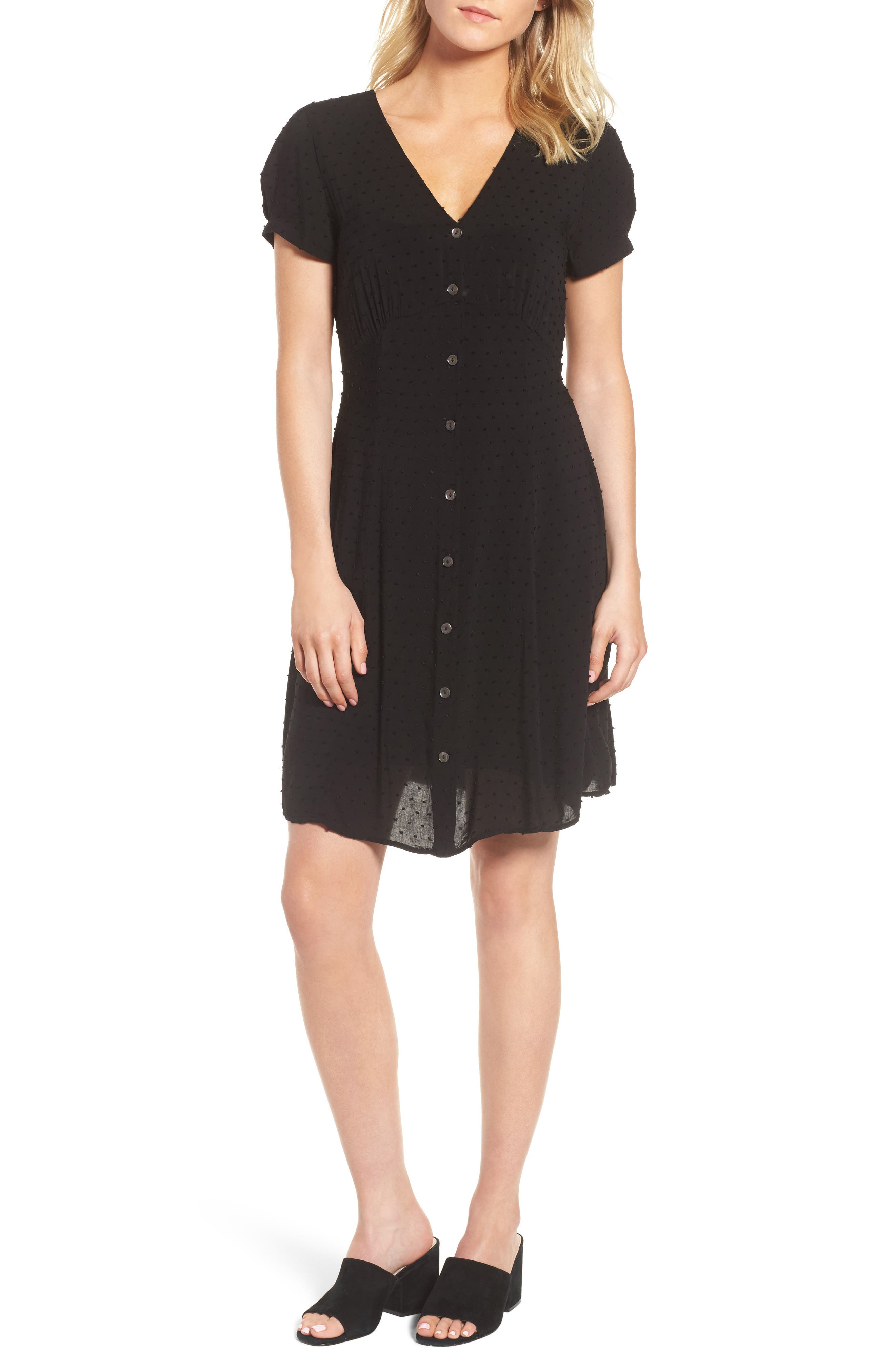 Swiss Dot Shirtdress,                             Main thumbnail 1, color,                             Black