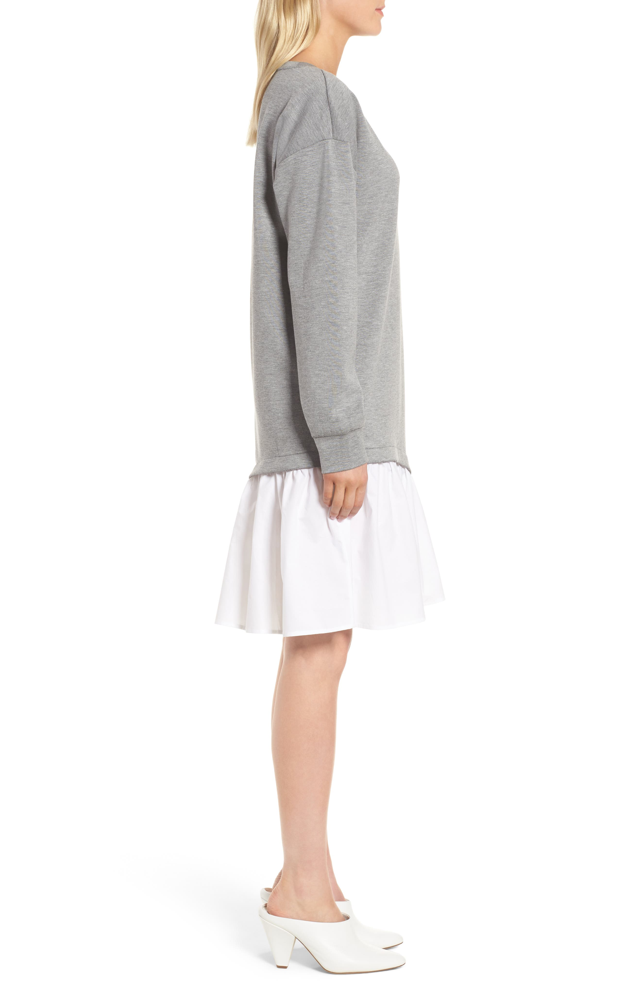 Mixed Media Sweatshirt Dress,                             Alternate thumbnail 3, color,                             Grey Heather